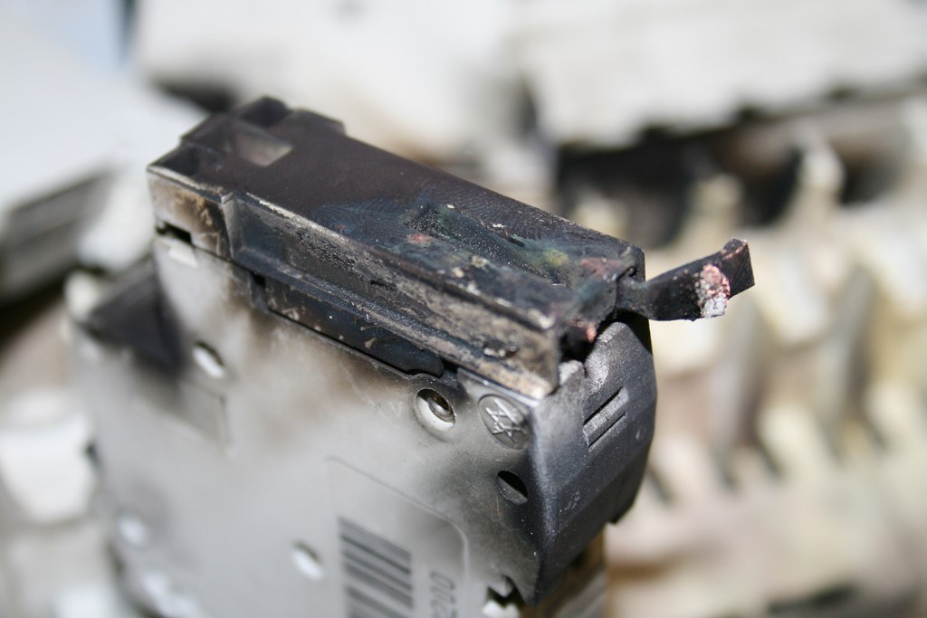 DEFECTIVE BREAKERS  Defective ground fault circuit breaker interrupter outlets in bathrooms, kitchen, garage, and outside.