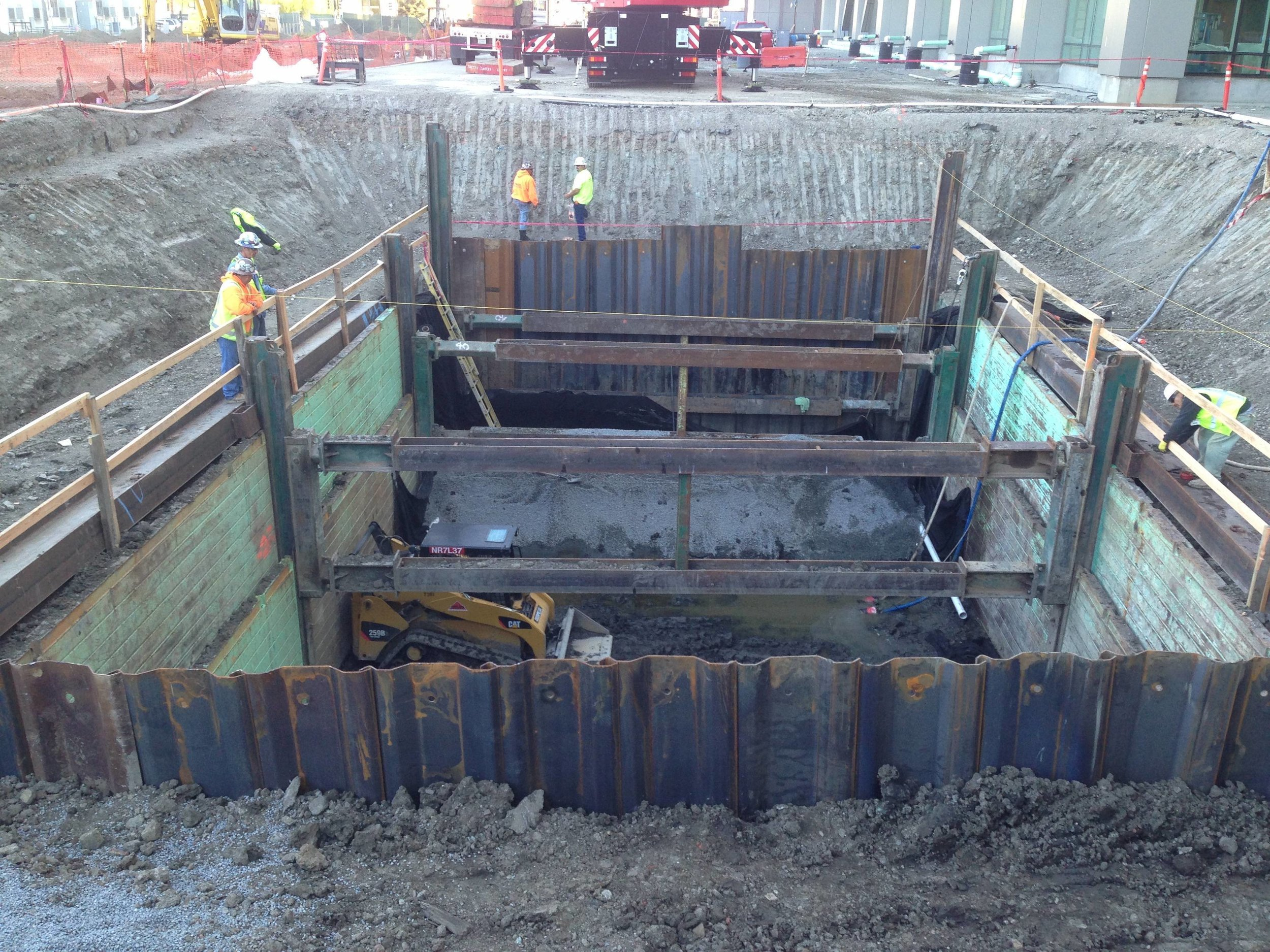 Slide Rail Shoring (SRS) with Sheet Piles - 60'Lx35'Wx16'DPit for UCSF - Talus Construction.JPG