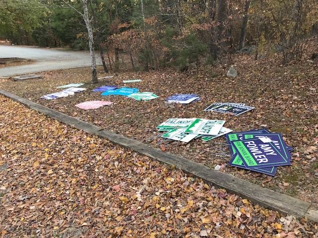 Remnants of the 2017 Municipal Election. Keep  Cedar Falls Park  Clean
