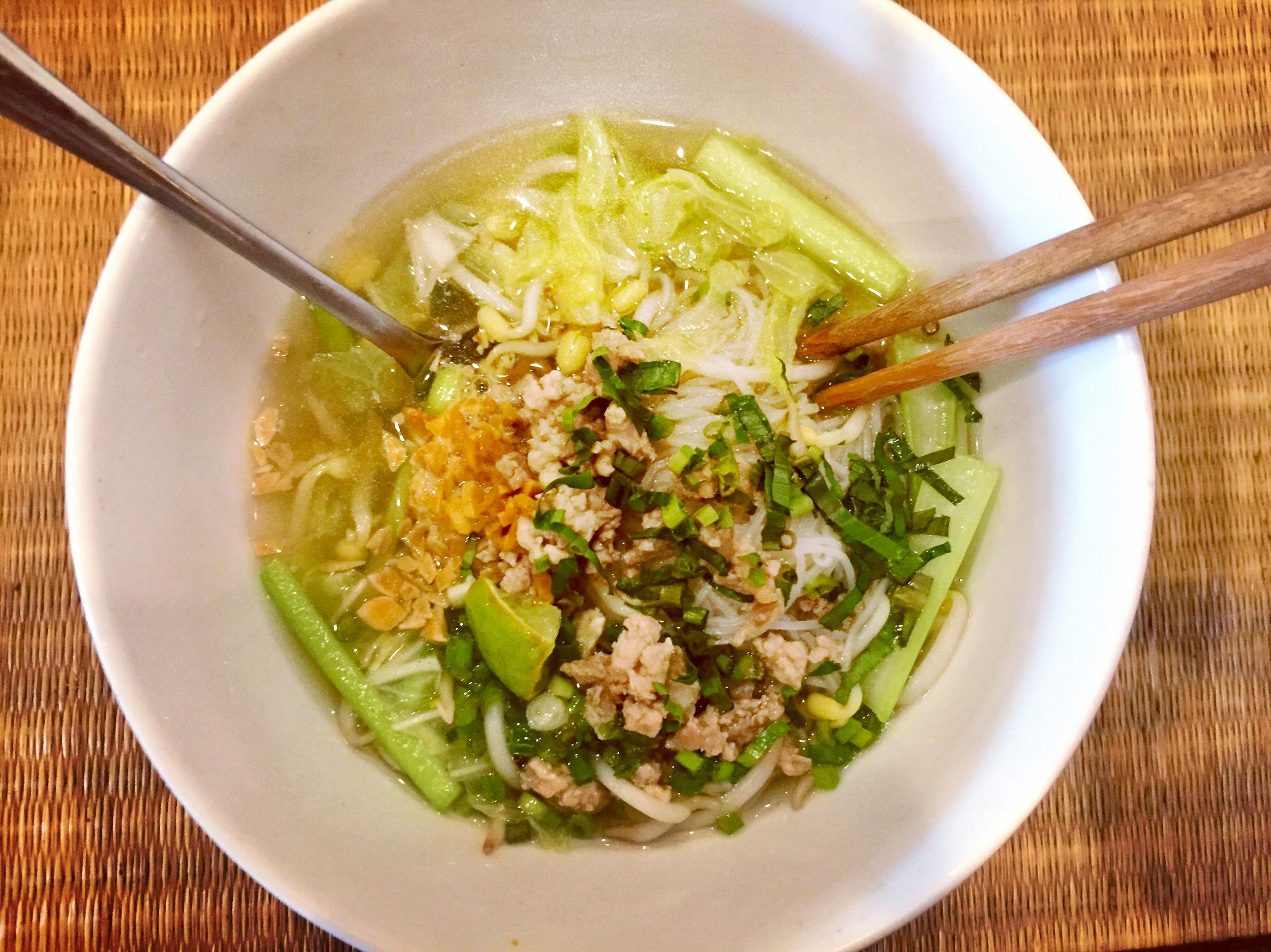 Breakfast bowl of kuy teav at the Royal Angkor Resort.