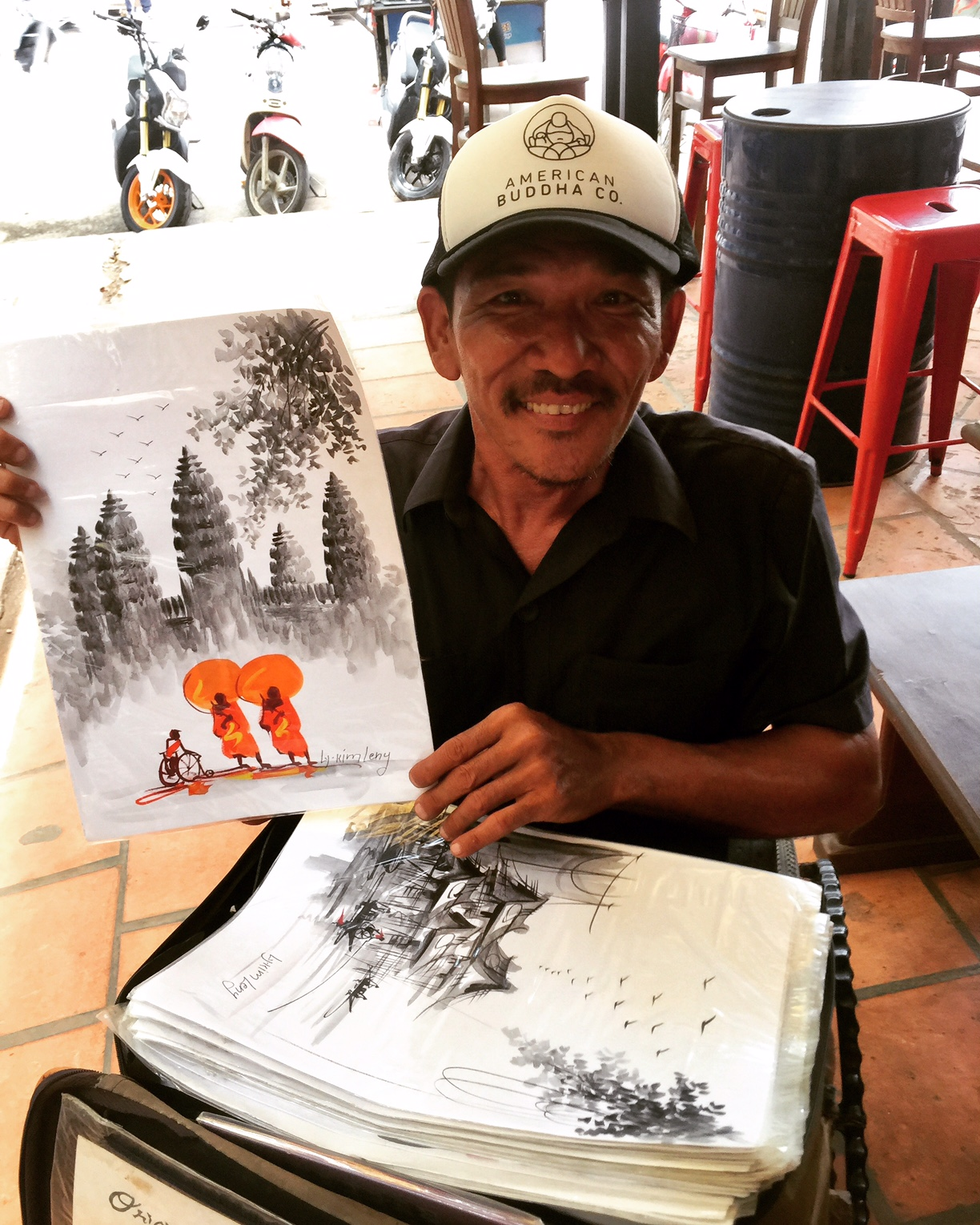 Ly Kim Leng, a local Cambodian artist in Siem Reap.