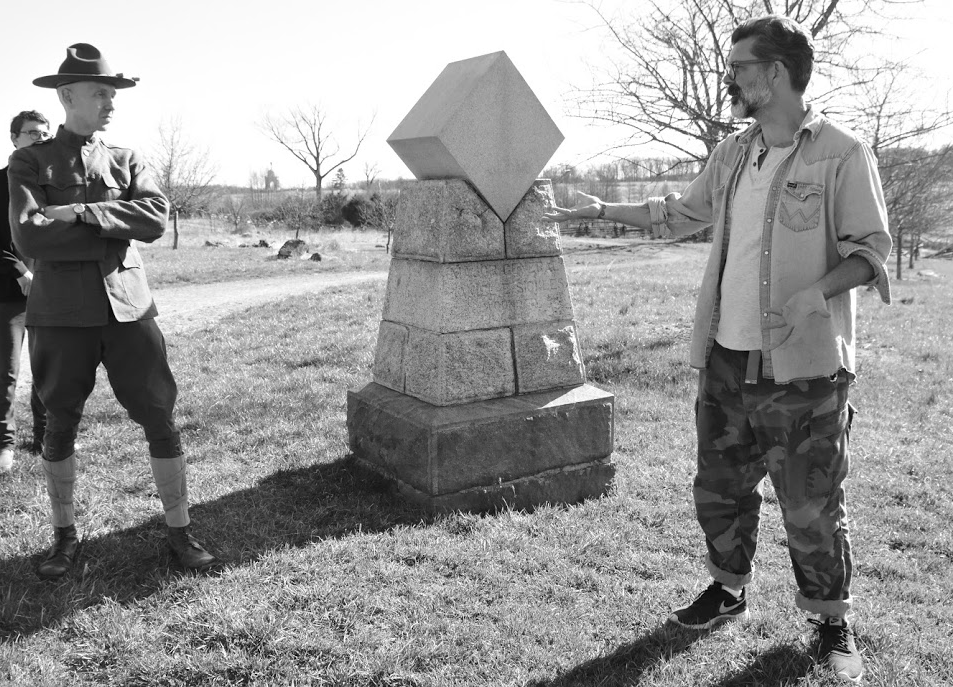 Me and John Heckman talking things out where Dan Sickles got popped at Gettysburg. Photo by  N. Fax .