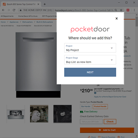 You can select where and how to add your image or product to Pocketdoor