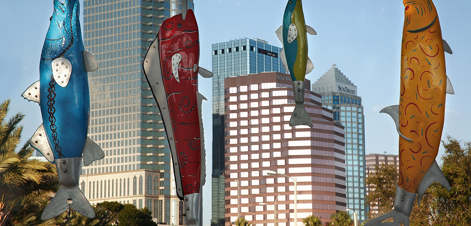 Fish on Bayshore , Lorraine Genovar & Wayne Fernandez   Photo Credit, Ron Williams   Initially commissioned by the City of Tampa Public Art Program in 1995, the popular and recognizable  Fish on Bayshore  was showing wear and tear, so the F. E. Lykes Foundation funded a restoration, in 2004, to brighten and update this favorite landmark.