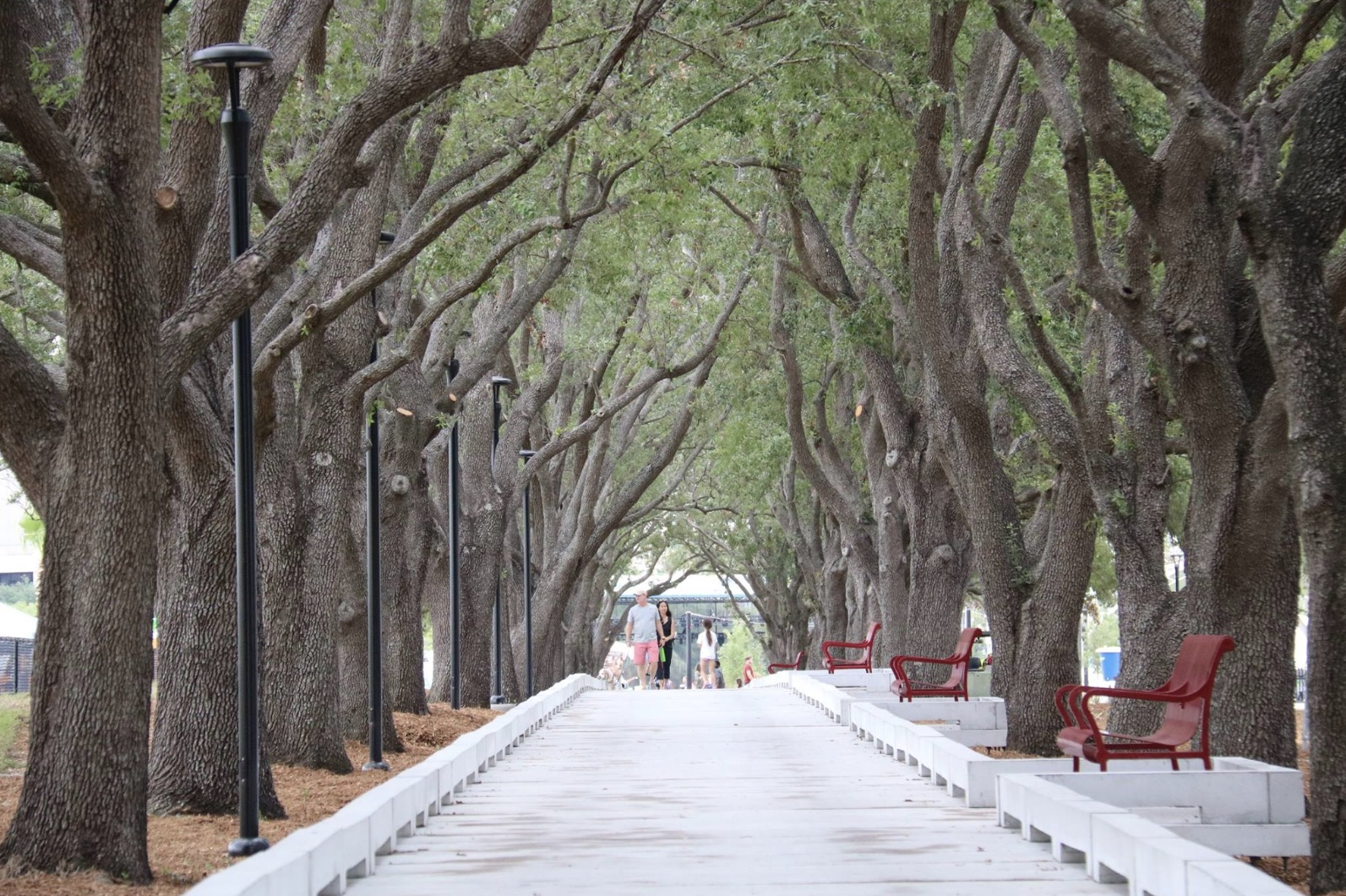 """Julian B. Lane Riverfront Park - Red benches line the historical walkway of trees referred to as the """"Walk of Shade""""; also, structures providing seating and shade in the basketball and sports areas of the Park.Image courtesy of Jason MacKenzie"""