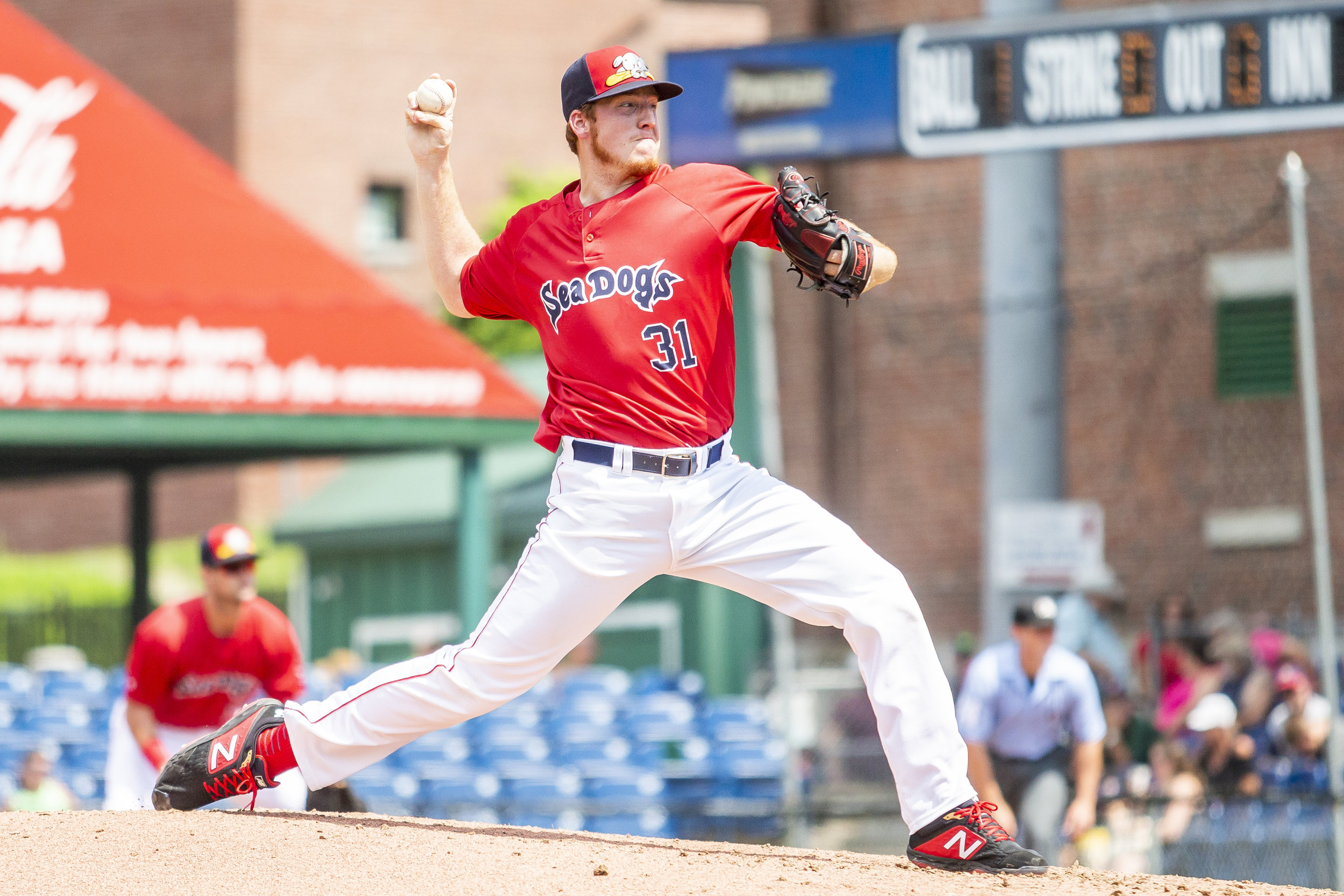 PORTLAND, ME - AUGUST 05:  Teddy Stankiewicz #31 of the Portland Sea Dogs delivers in the second inning of a game against the Richmond Flying Squirrels on August 5, 2018 in Portland, ME at Hadlock Field . (Photo by Zachary Roy/Getty Images)