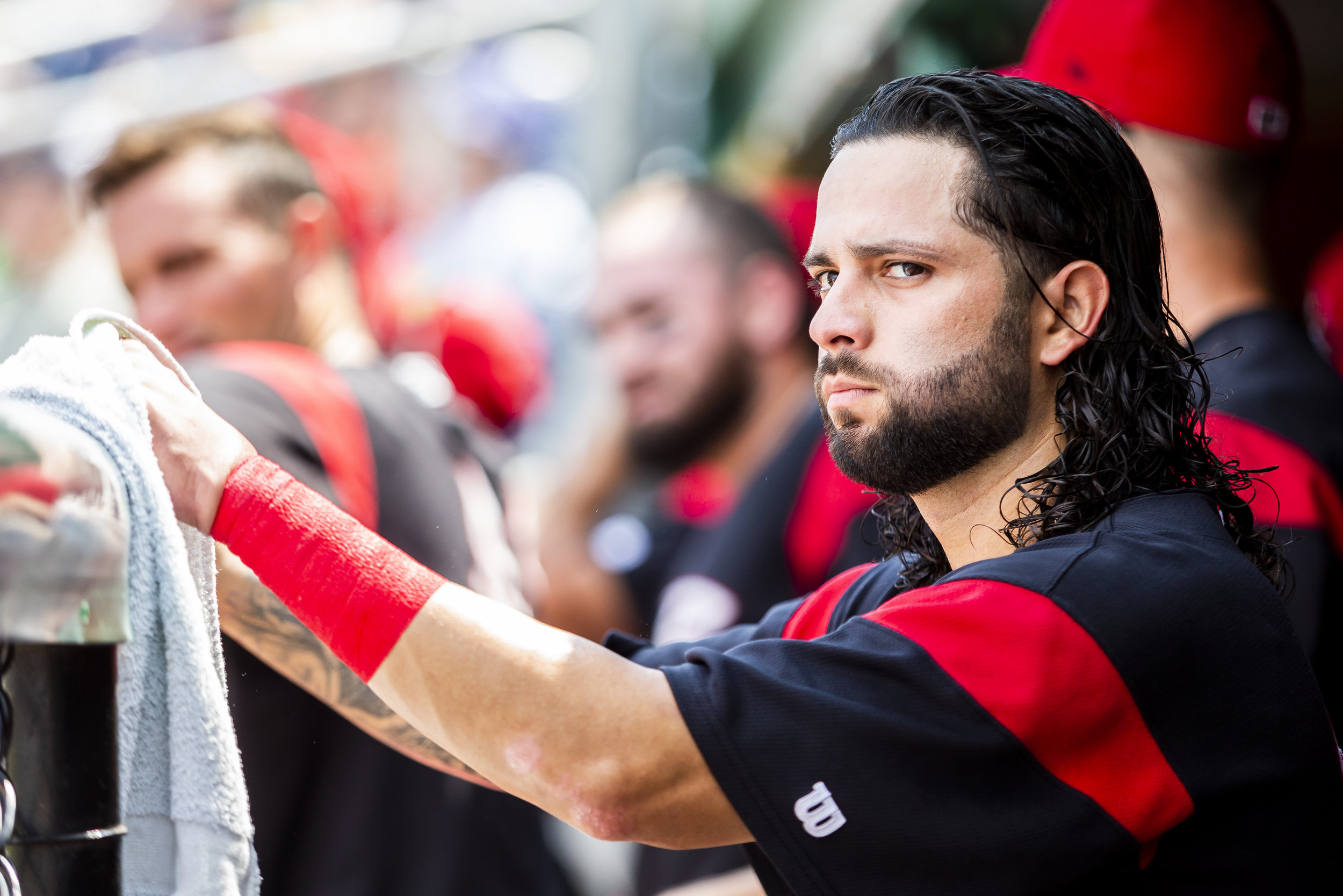 PORTLAND, ME - AUGUST 05:  C.J Hinojosa #26 of the Richmond Flying Squirrels looks at the scoreboard in the game against the Portland Sea Dogs on August 5, 2018, in Portland, ME at Hadlock Field. (Photo by Zachary Roy/Getty Images)