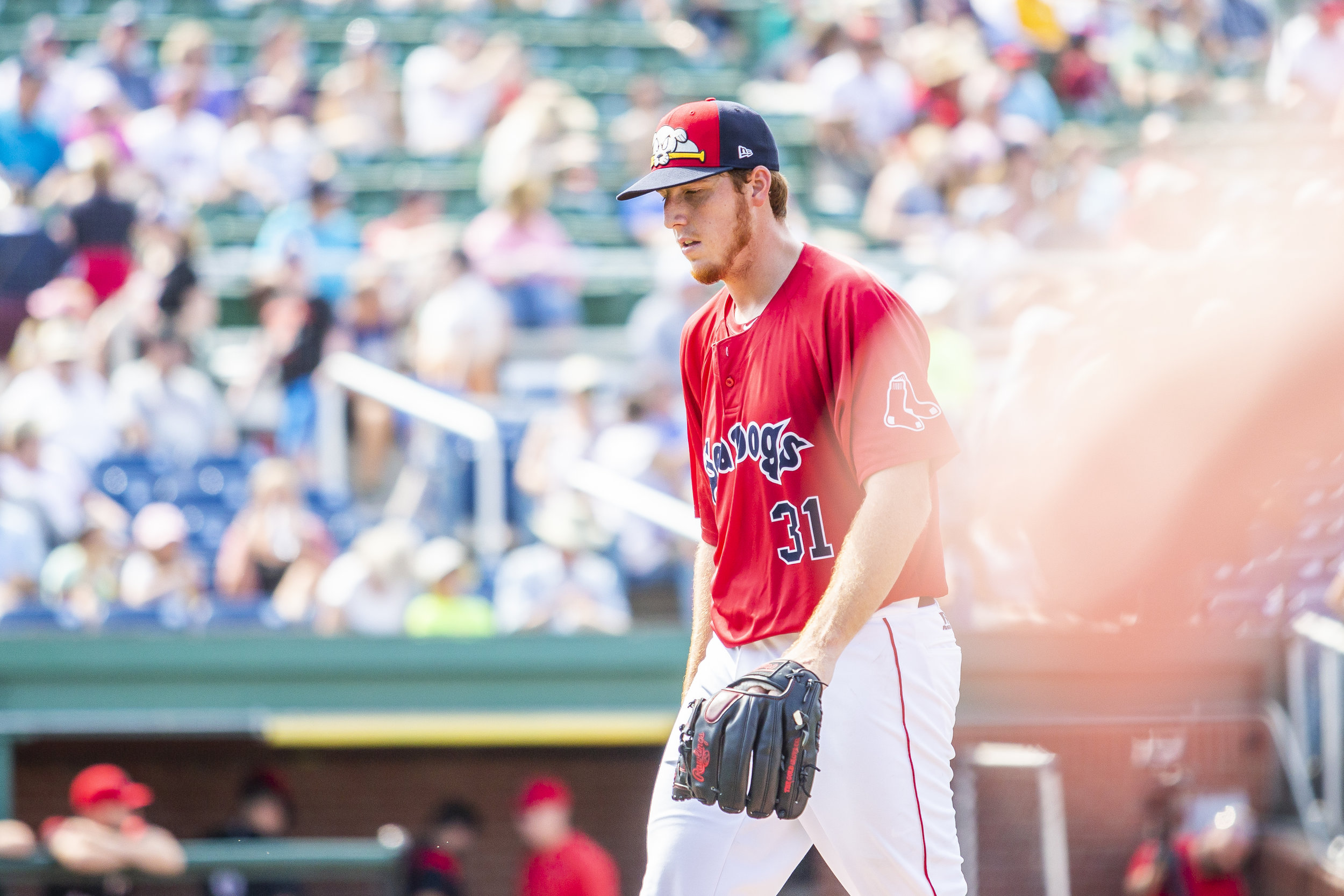 PORTLAND, ME - AUGUST 05:  Teddy Stankiewicz #31 of the Portland Sea Dogs returns to the dugout at the end of the sixth inning in a game against the Richmond Flying Squirrels on August 5, 2018 in Portland, ME at Hadlock Field . (Photo by Zachary Roy/Getty Images)