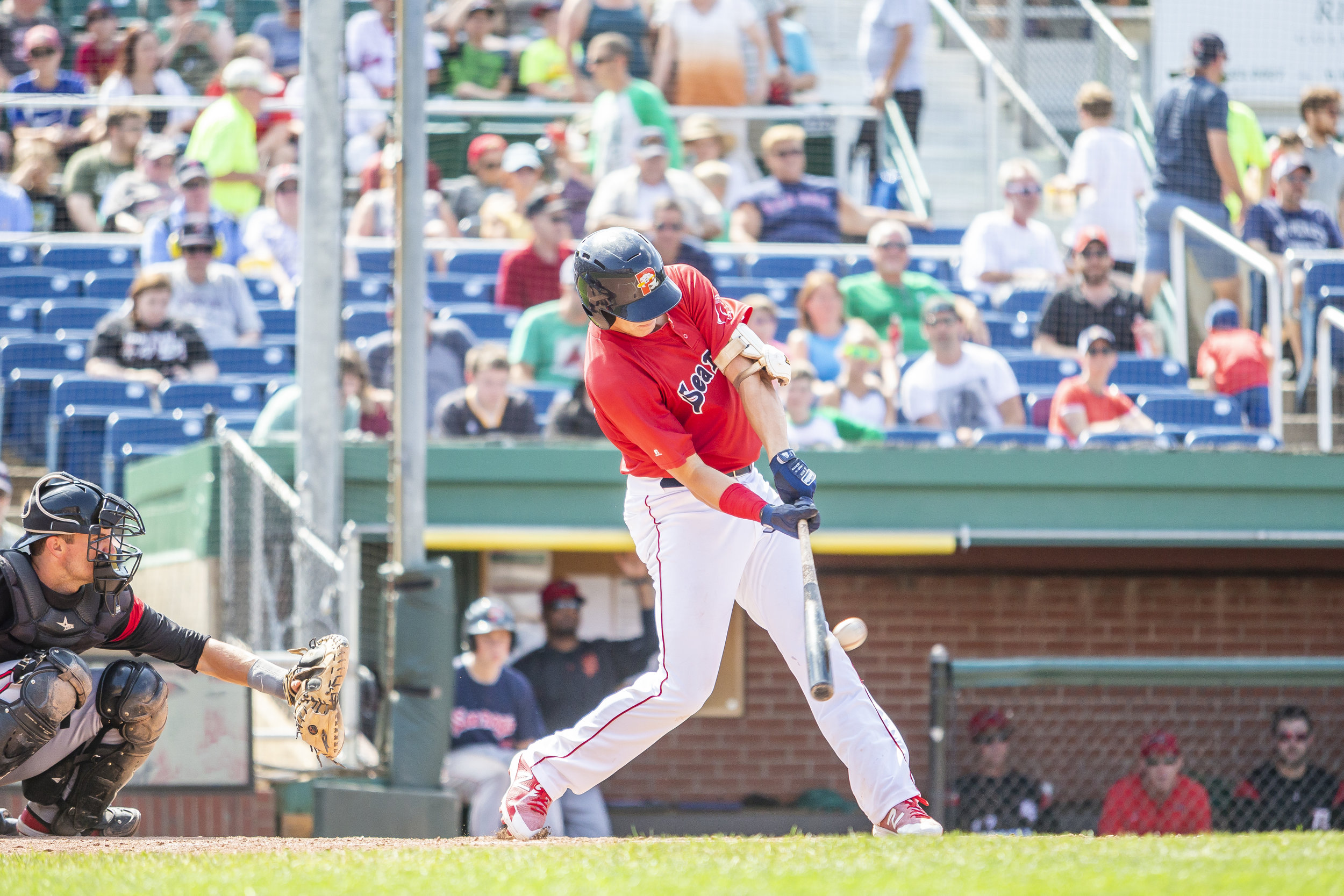 PORTLAND, ME - AUGUST 05:  Bobby Dalbec #29 of the Portland Sea Dogs hits his second home run in a game against the Richmond Flying Squirrels on August 5, 2018, in Portland, ME at Hadlock Field. (Photo by Zachary Roy/Getty Images)