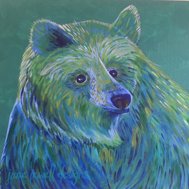 Teal Bear by June Jewell