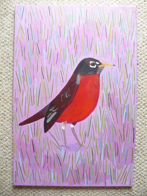 Robin on Purple