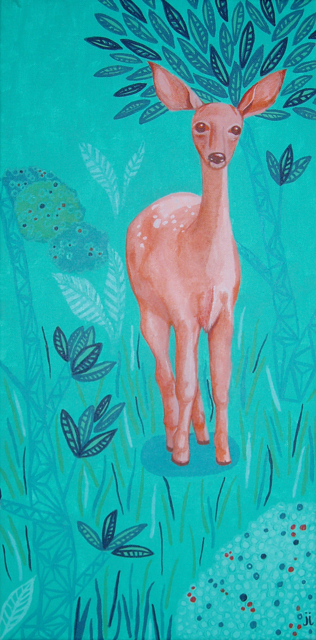 Pink Deer by June Jewell