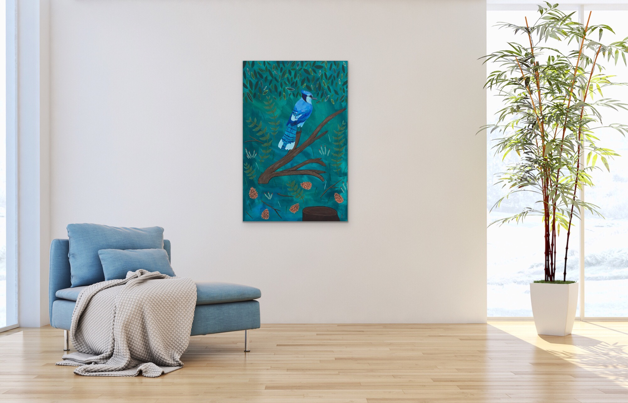 This Blue Jay painting (by June Jewell) is already sold, but I thought I'd give another sample of more to come with app…& if you're interested in a painting of a blue jay, I do commissions. ;)