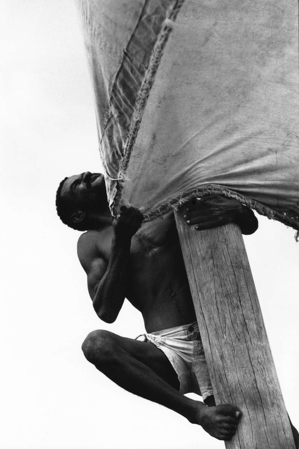 Up the mast off the coast of Mombasa, Kenya. 1999