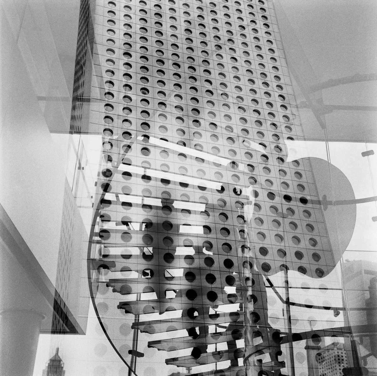 Double exposure, Jardine House in Hong Kong. 2014