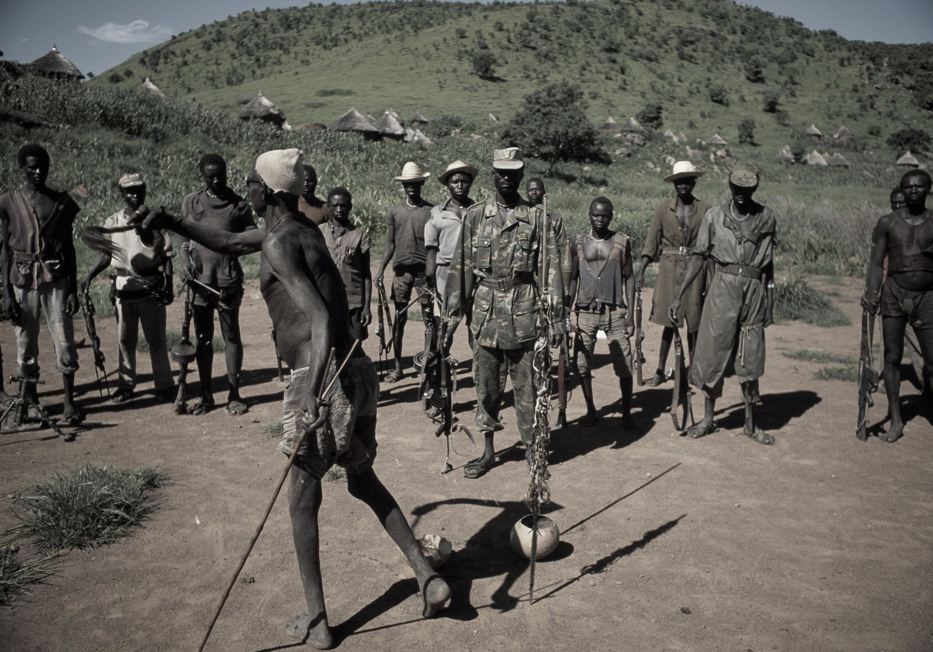 Blessing by the witchdoctor. Nuba Mts. 1994
