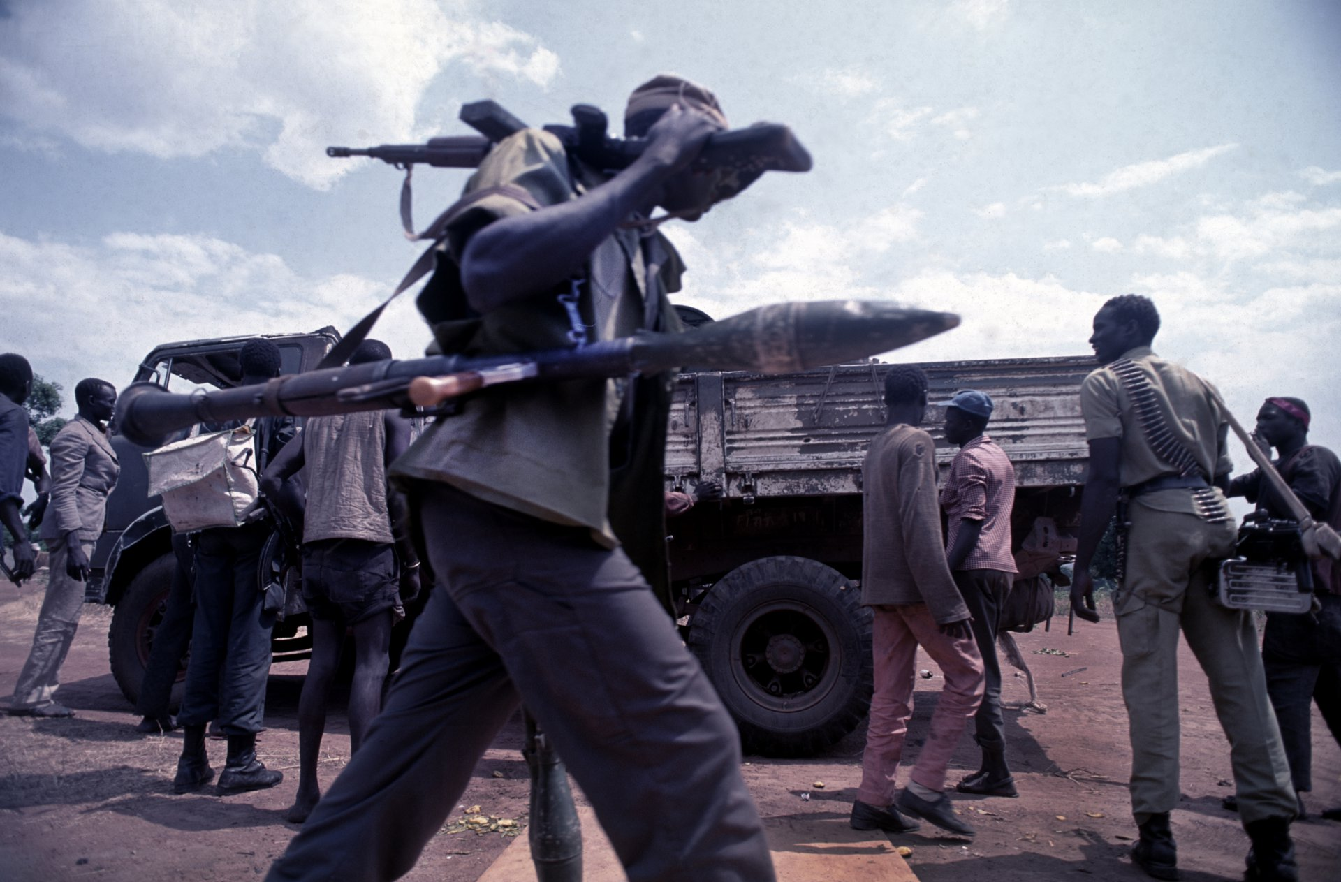 SPLA soldiers on the way to the frontline. Southern Sudan, 1991