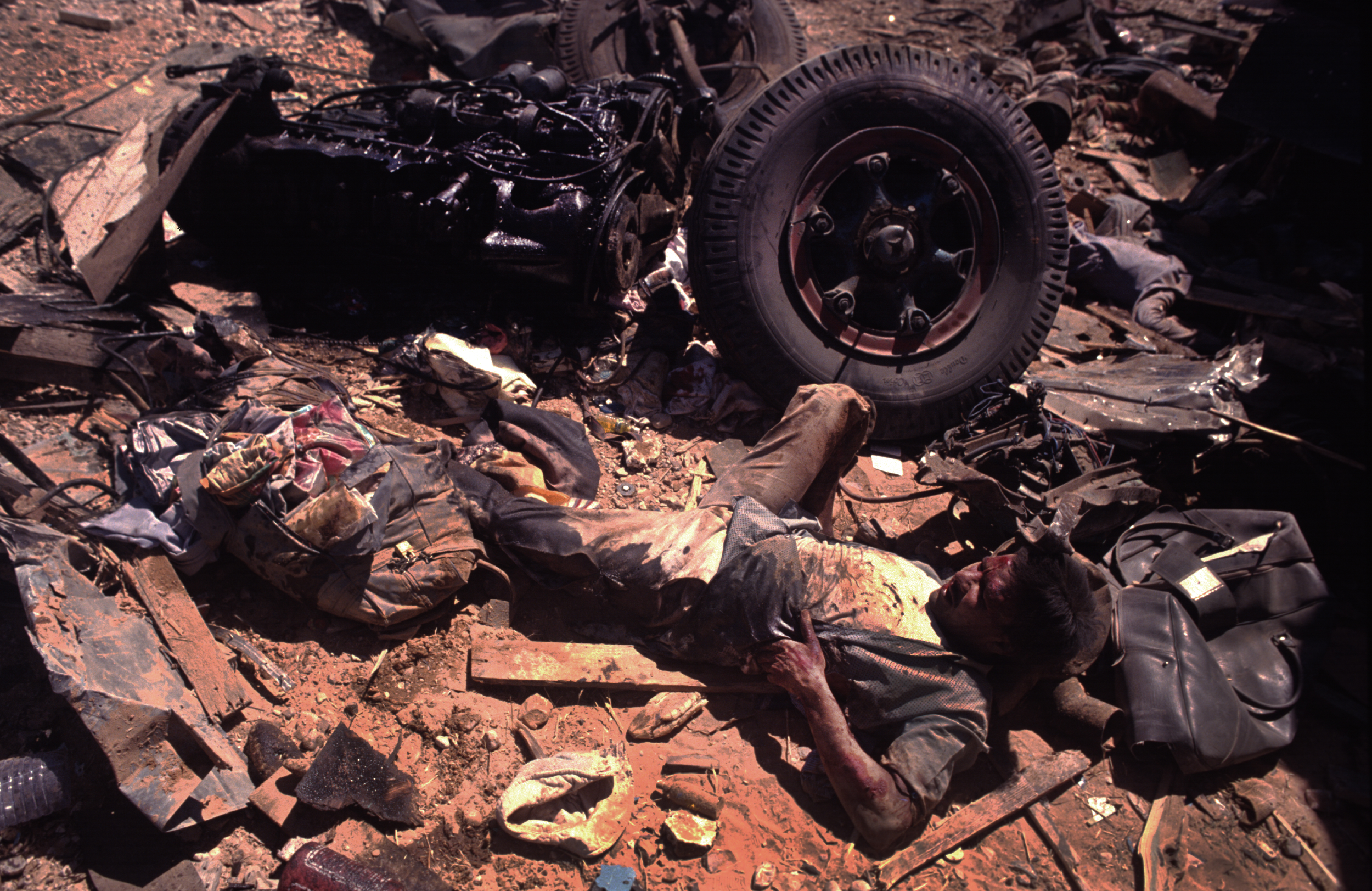 """""""Fallout of War"""" On the Baghdad to Basra road during the First Gulf War. 1991"""