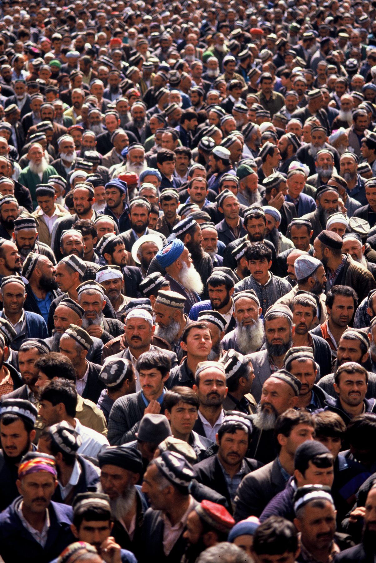 Islamic Renaissance Party members during a protest to overthrow the Soviet backed government in power in Dushanbe, Tajikistan.1992