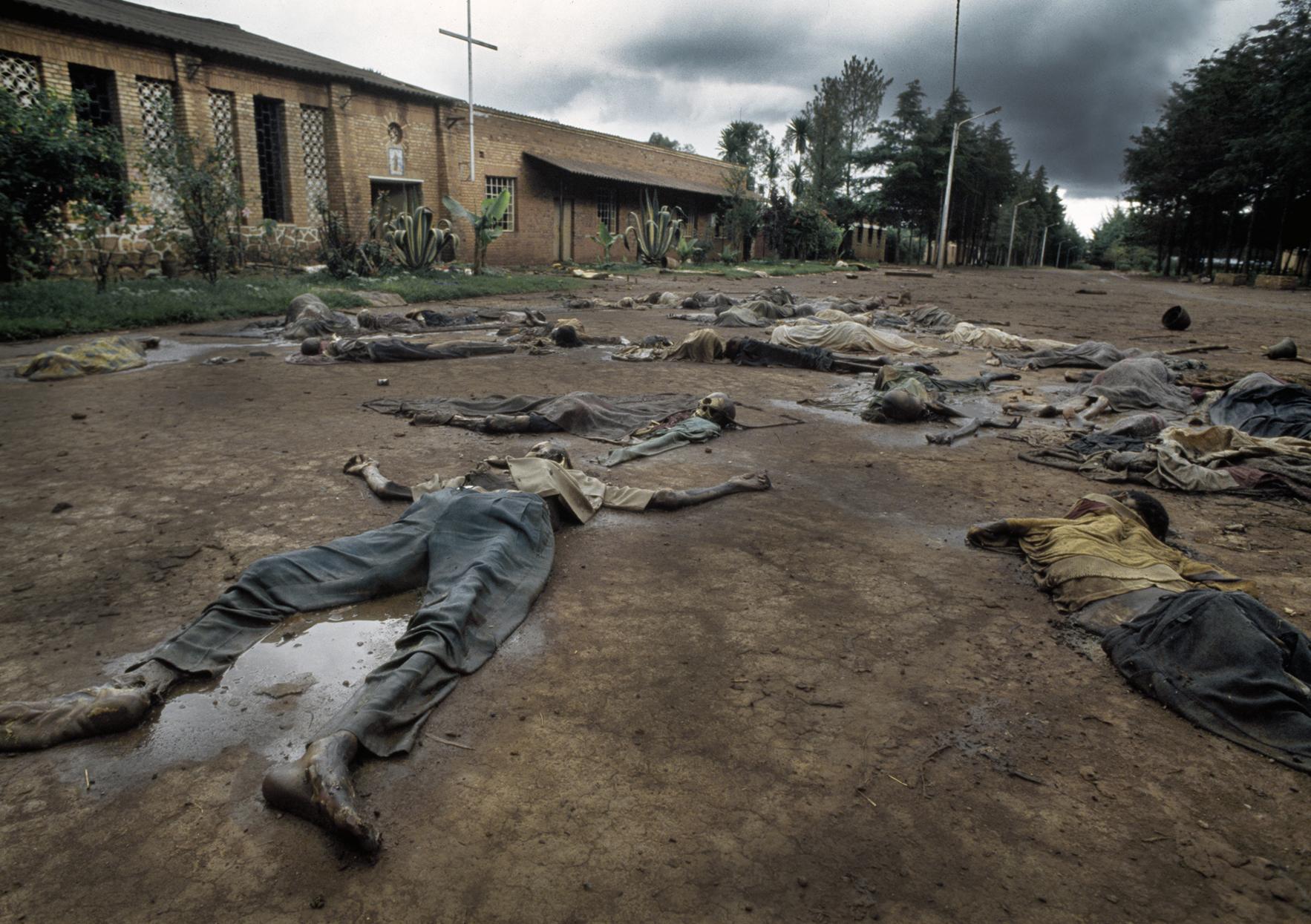 Corpses of Tutu massacre victims outside a Belgian Catholic Church in Rukara. Genocide, Rwanda, 1994