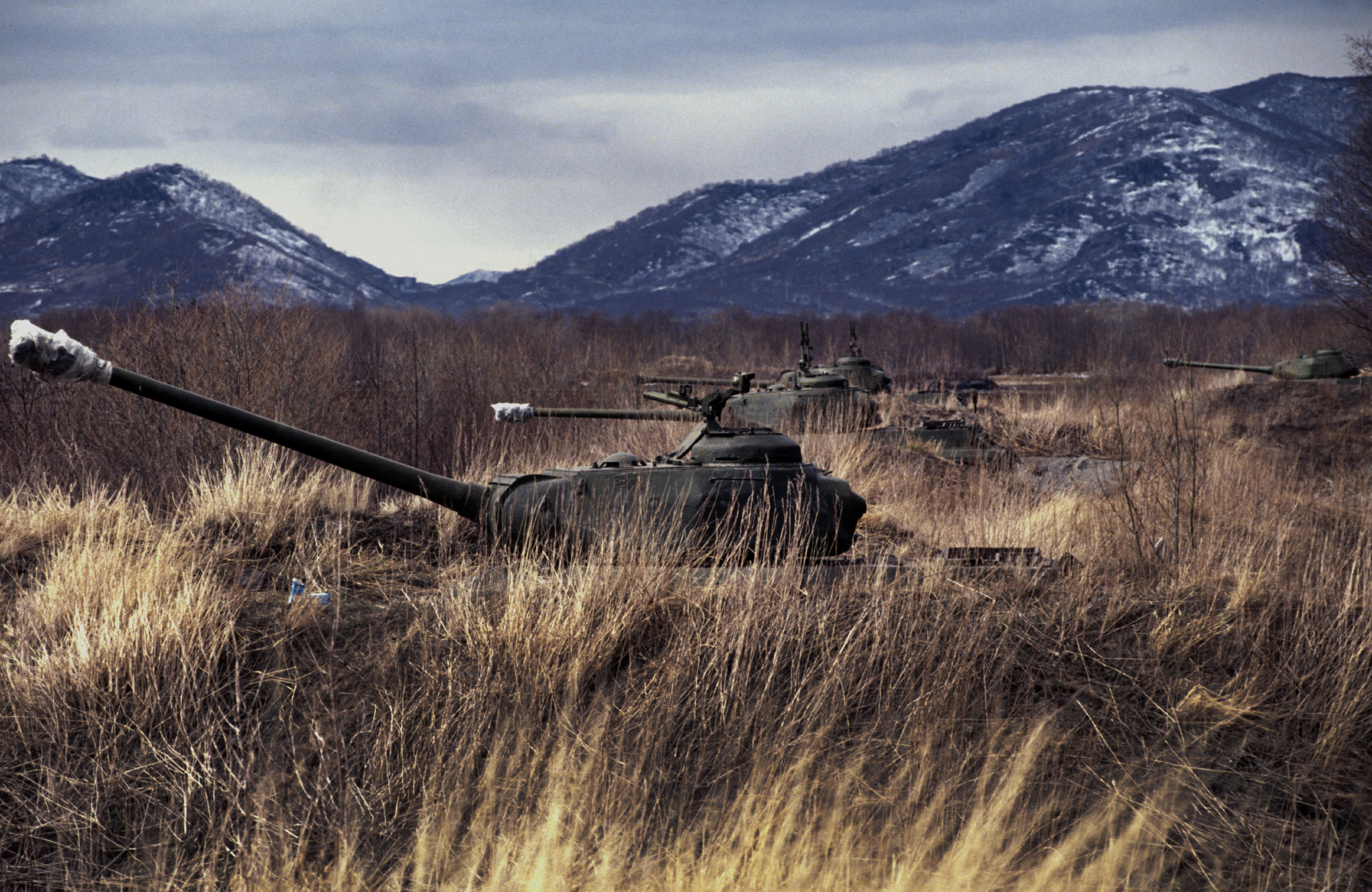 Decommissioned tanks on the Kamchatka peninsula, Russia. 1991