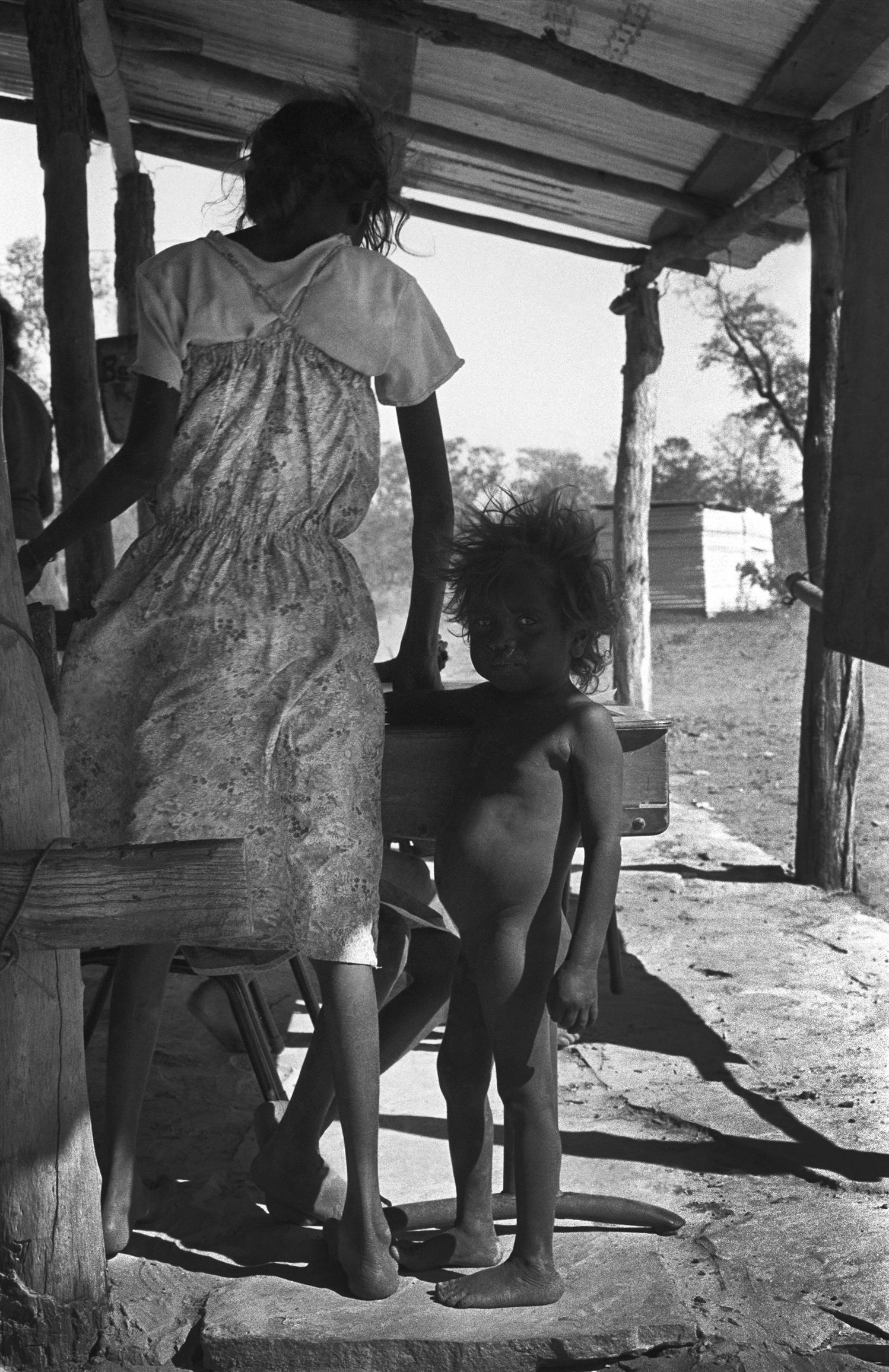 Indigenous school teacher and pupil. Roper River, Northern Territory Australia. 1983