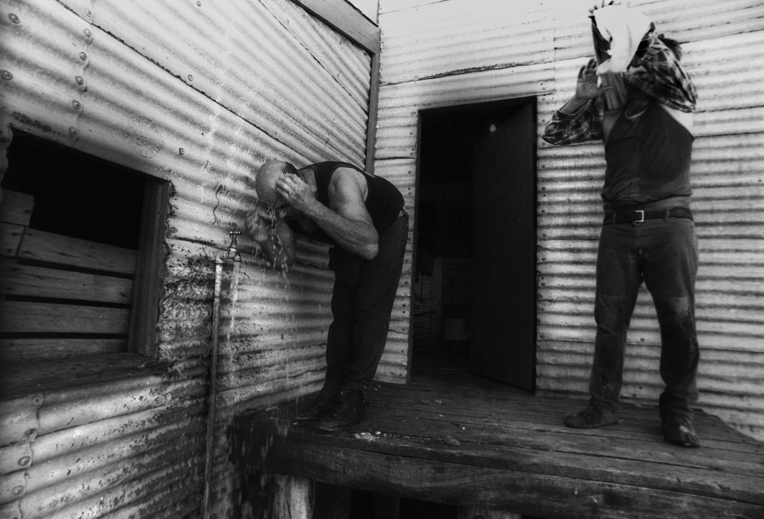 Washing before 'Smoko' (break) Outback QLD, Australia. 1997