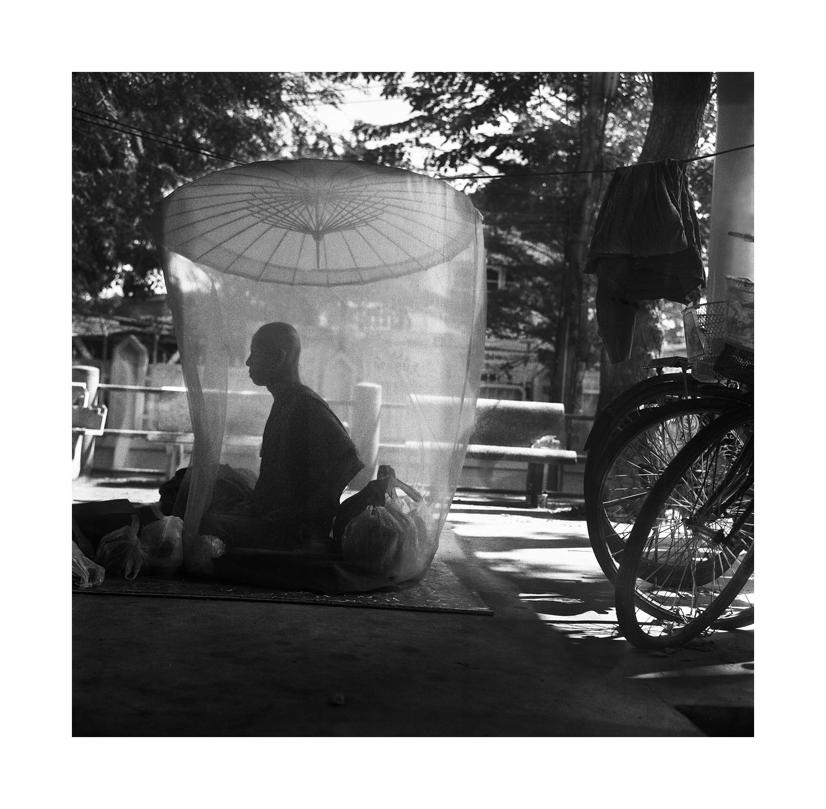"""""""Monk And Mosquito Net."""" Thailand. 2015"""