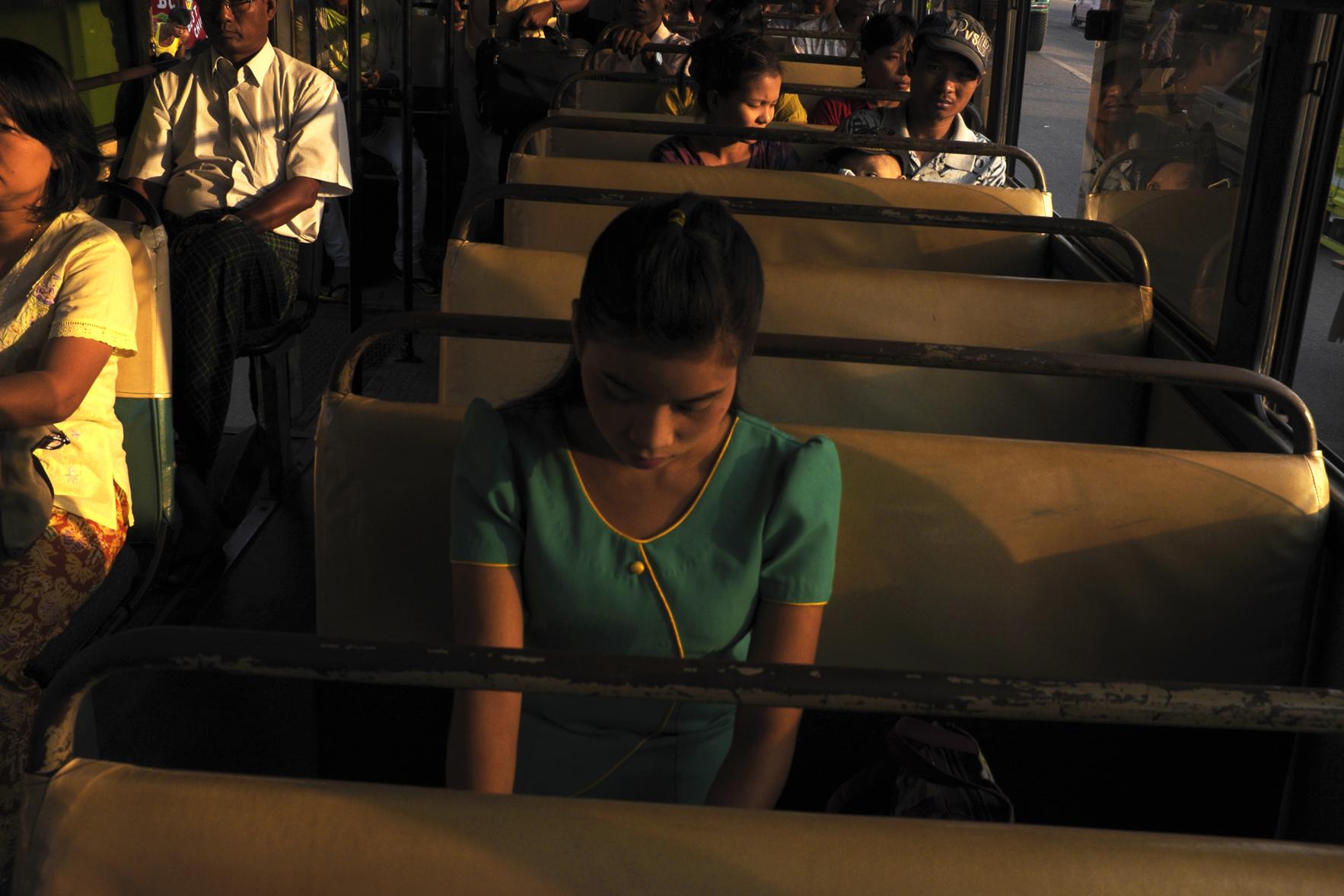 Bus Commuter. Rangoon, Burma. 2013