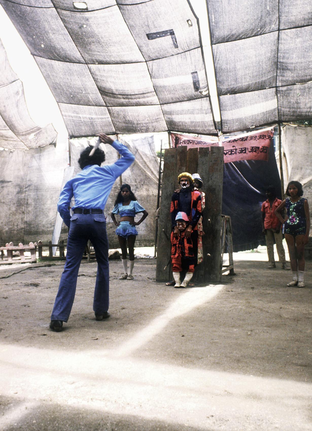 Knife Thrower. Circus, Kathmandu, Nepal. 1984