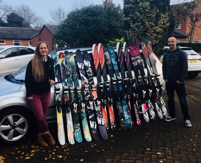 Taking your car means you can take lots of skis!