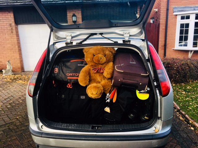Everything crammed in, with just enough room for Oliver.