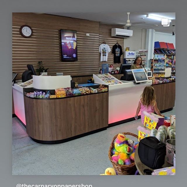Carnarvon Papershop looking good!  Thanks so much Pamela, Steph, Jess and the Carnarvon team you were all a gem to work with.  We hope you enjoy your new shop fit.  #lotterywest#jessosheadesigns#the carnarvonpapershop#justanotherdayinwa#carnavon