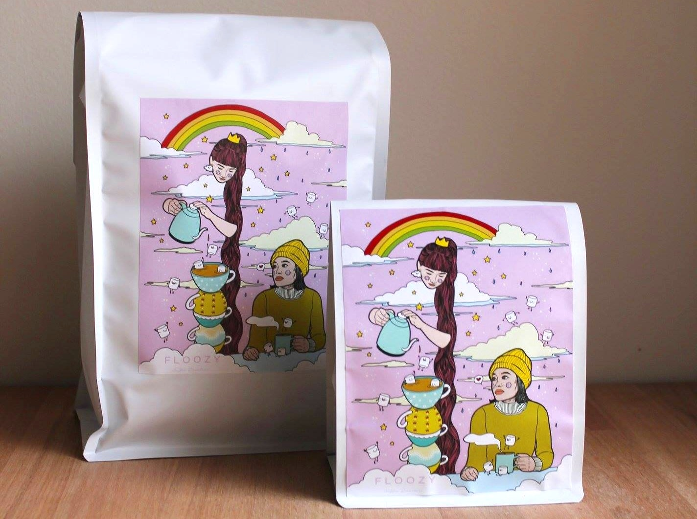The IWD Espresso Blend - available in 1kg or 250g. Label design by  Art by Ciara