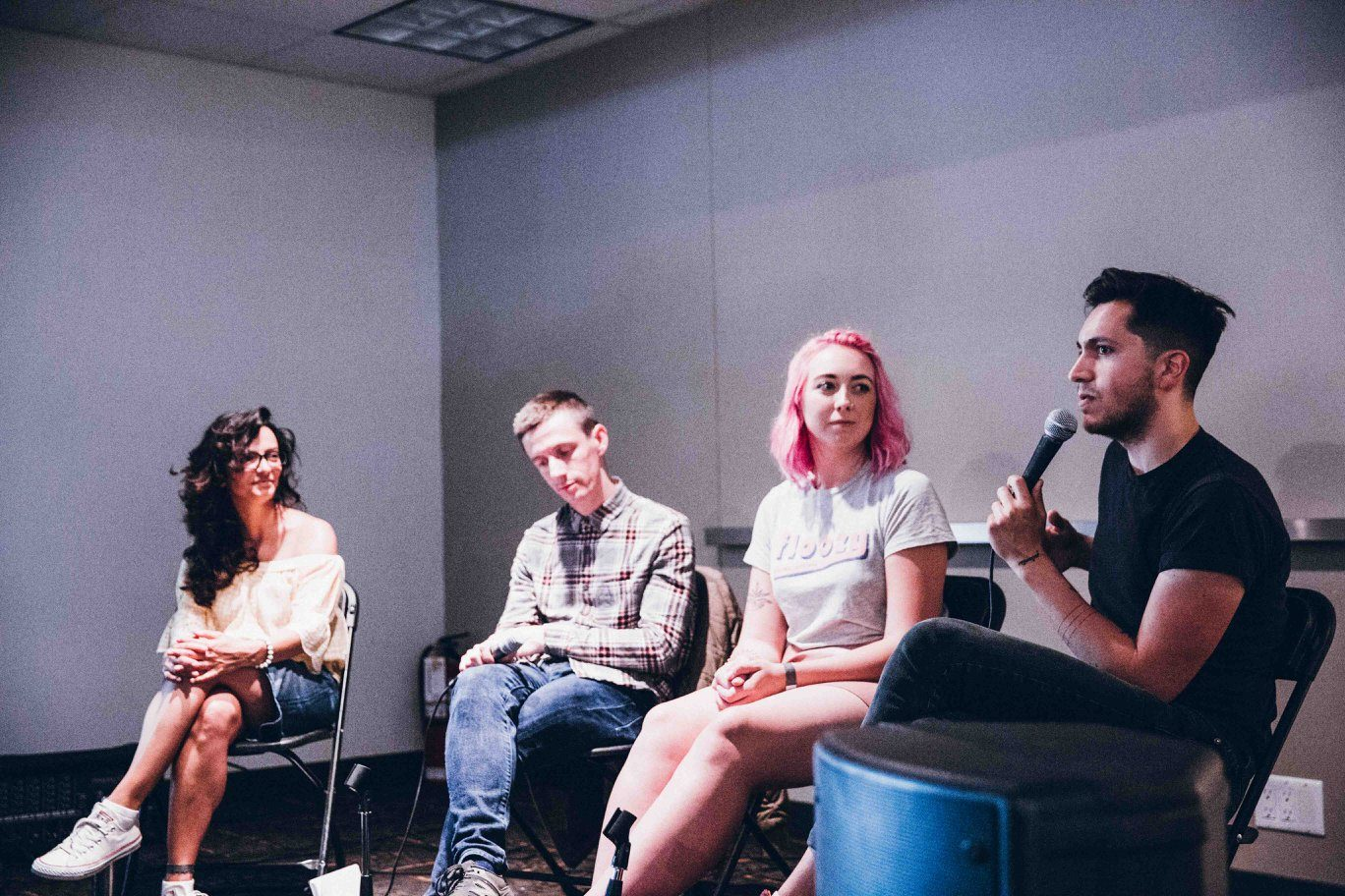 'How to Have a Career in Coffee' - a panel discussion at Beanstock Coffee Festival 2018 featuring Kat of Boxcar Social, Ben of Monogram Coffee, Cill from Floozy and Chris Tellez. Photo @bheathertownsend