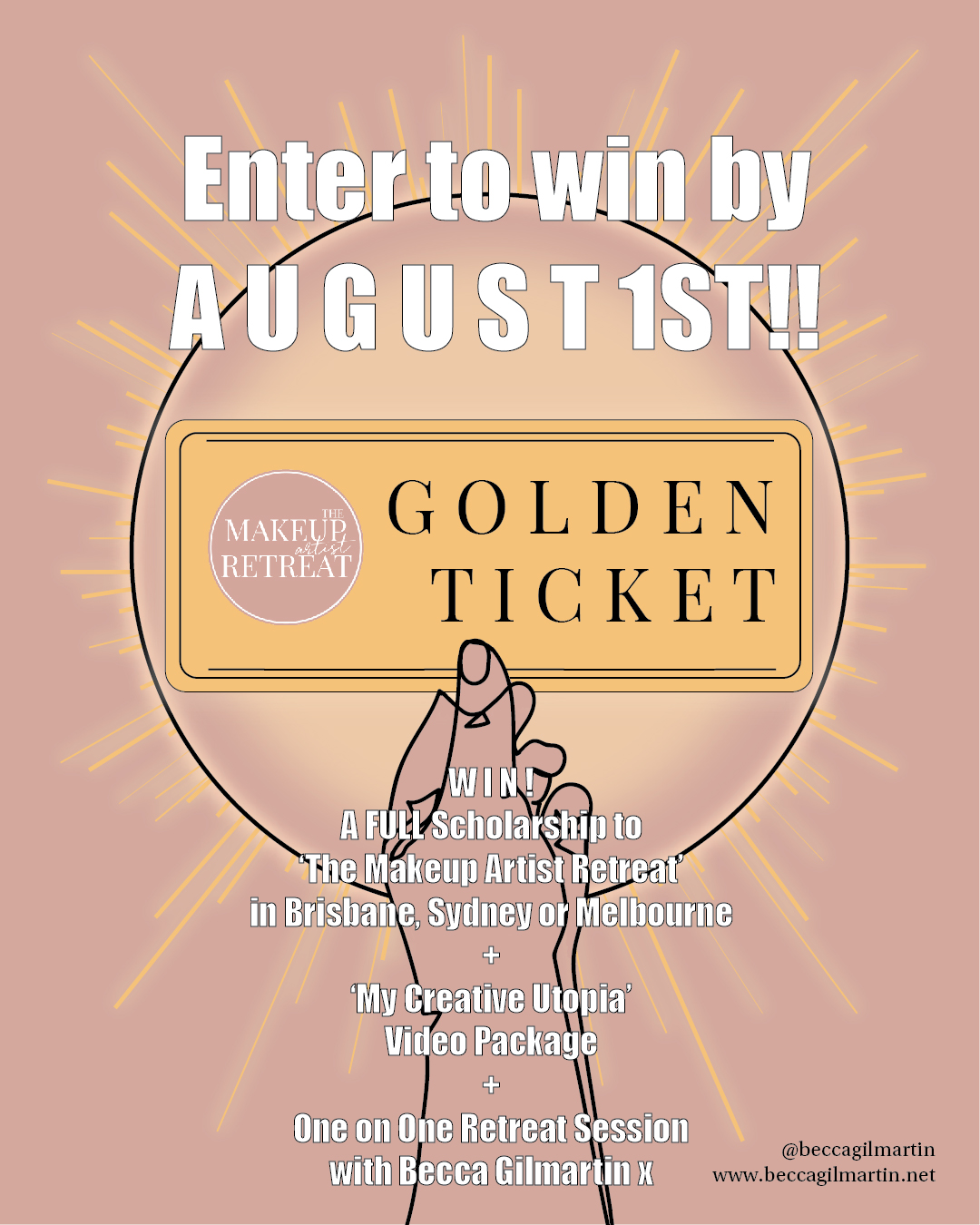 TAG POST WIN!   To celebrate @beccagilmartin 's favourite creation to date - @themakeupartistretreat - she has created a GOLDEN TICKET for one lucky artist to be a guest in every class in their capital city! ENTRY DETAILS BELOW  The #beautygoldenticket includes:   - Your place in a 2 day Makeup Artist Retreat in either Sydney, Melbourne or Brisbane   - A triple pass to a Mini Makeup Artist Retreat!  - Be one of the first to receive the 'My Creative Utopia' Video Package!  - AND a one on one online Retreat session with Becca post your MUA Retreat   How to enter:  1 - TAG your two MUA BFFs in this post 2 - FOLLOW @themakeupartistretreat @beccagilmartin  3 - POST on your feed your favourite image of your work, tag #beautygoldenticket #themakeupartistretreat and @themakeupartistretreat explaining why this image is your favourite piece of work Winner announced August 2nd 2019 Australian time x    www.beccagilmartin.net  for event details! G O O D L U C K *competition open to any artist globally however would be responsible for their own travel and accommodation should they live outside Scheduled cities. Winner chosen by Becca and contacted via #instagram #australianmakeupartist #makeupcompetition #themakeupartistretreat #sydneymakeupartists #melbournemakeupartists #brisbanemakeupartists #beccagilmartin #beautygoldenticket #win #prize #goldenticket #illustration #artistselfcare #selfcare #careerconfidence #creativemakeupartist #makeuptutorial #makeup #love #instacompetition #instacomp