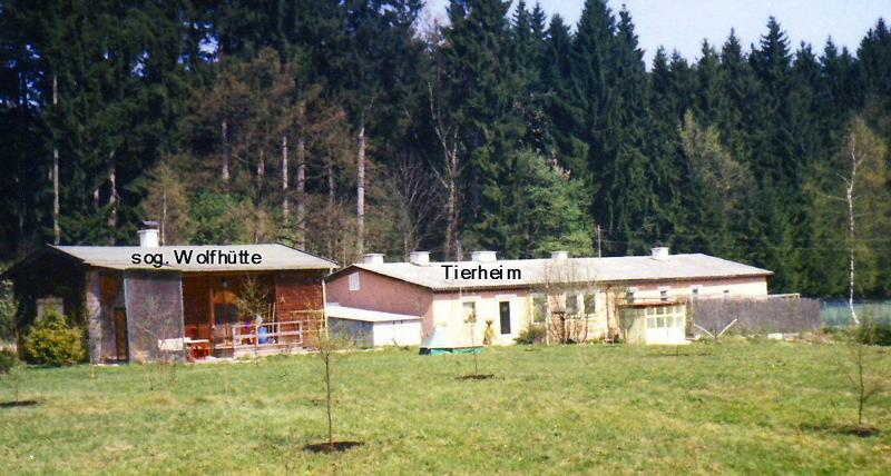 """rechts das neue Tierheim von 1964, links das Wochenendhaus von Herrn Wolf, die deshalb so genannte """"Wolfhütte"""""""