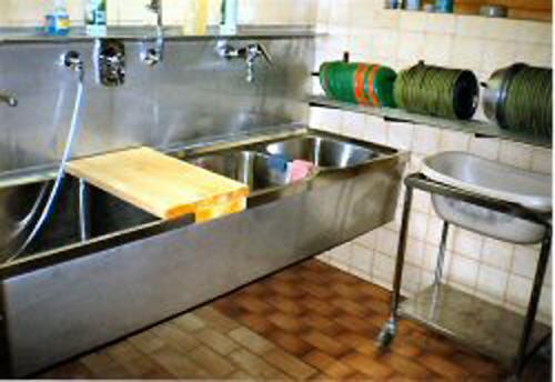 das modernisierte Hundebad und zzgl. Futterküche