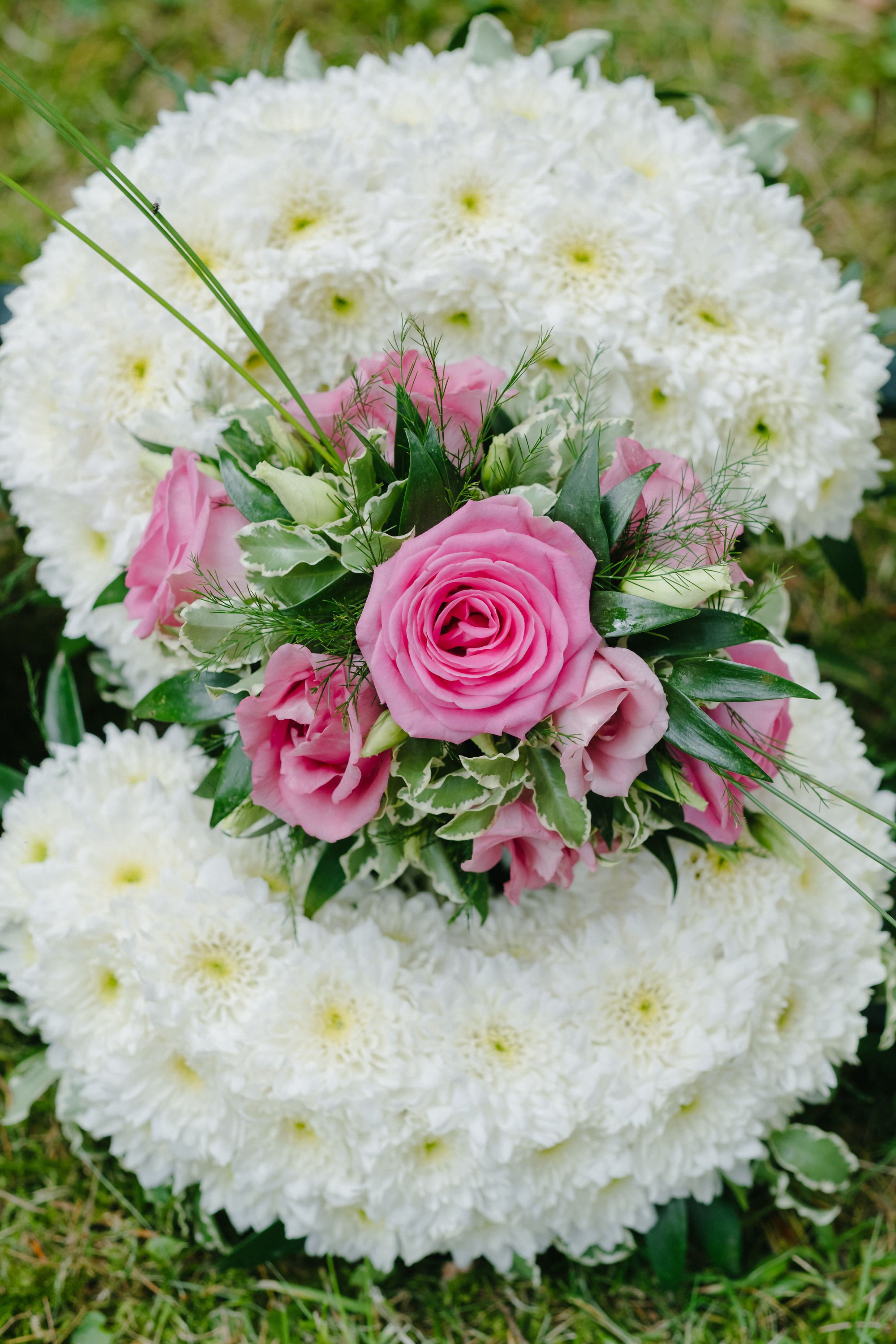 Funeral Tribute - 'Letter S' in Pink, Foliage Edge.jpg
