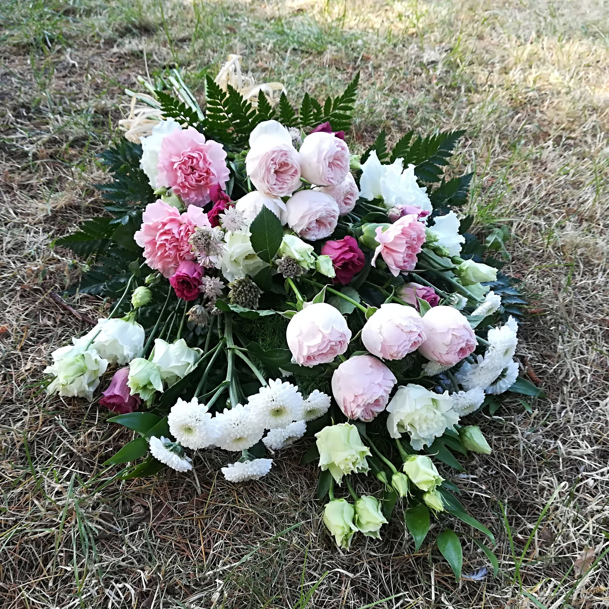 Funeral Sheaf with Raffia - Pinks and Whites.jpg