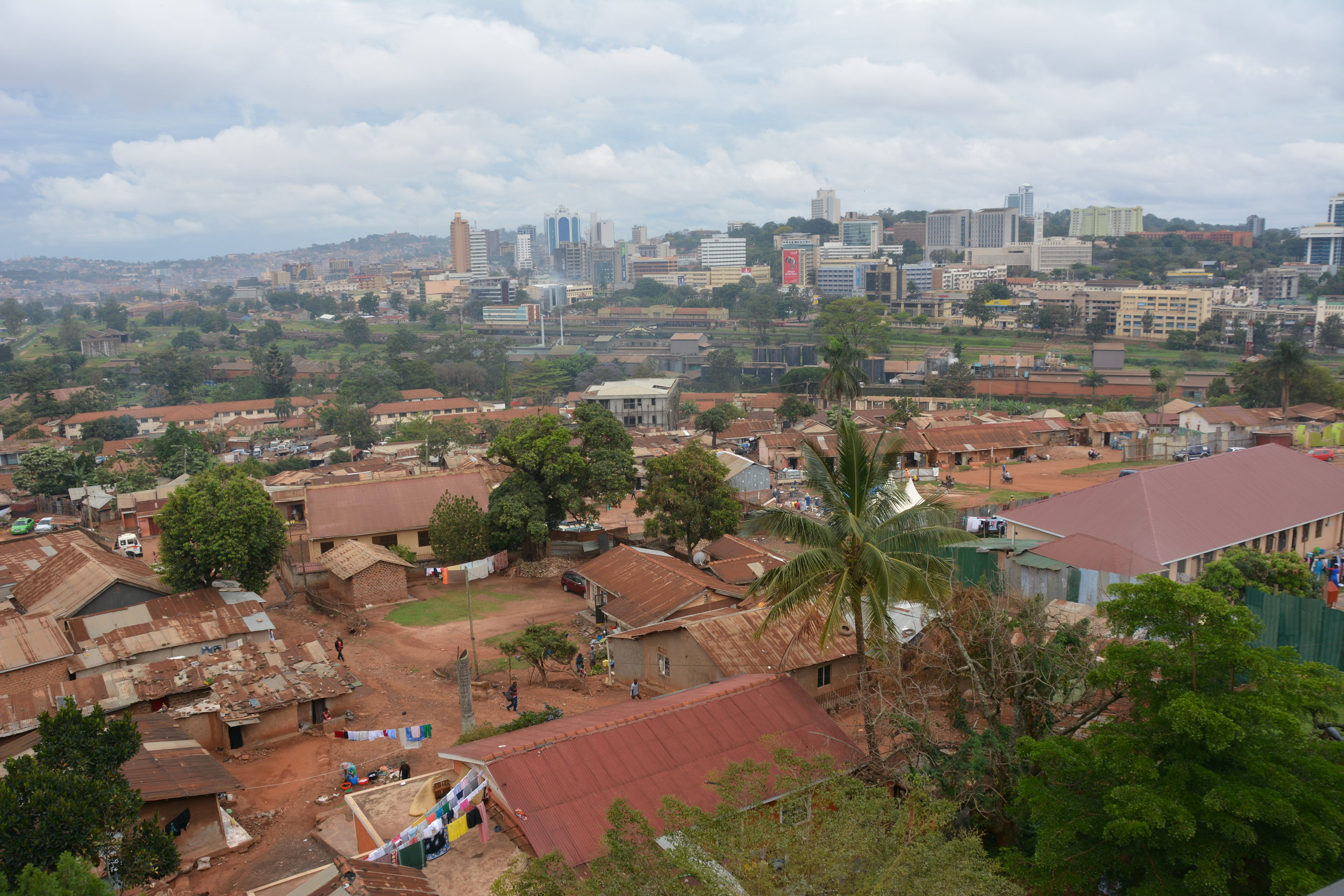 Photo taken from an upper level of Ronald's school, looking toward Kampala's downtown.