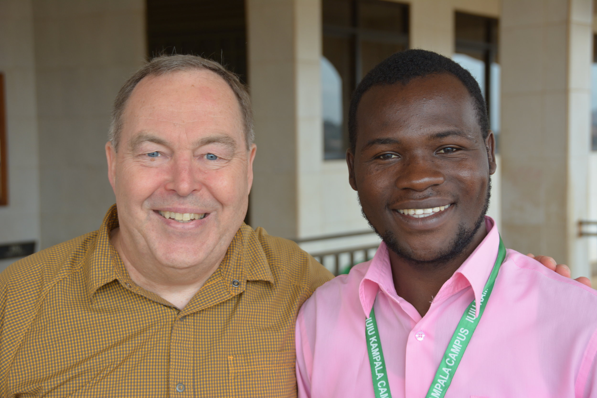 Randy and Ronald at IUIU Kampala campus in November 2017.