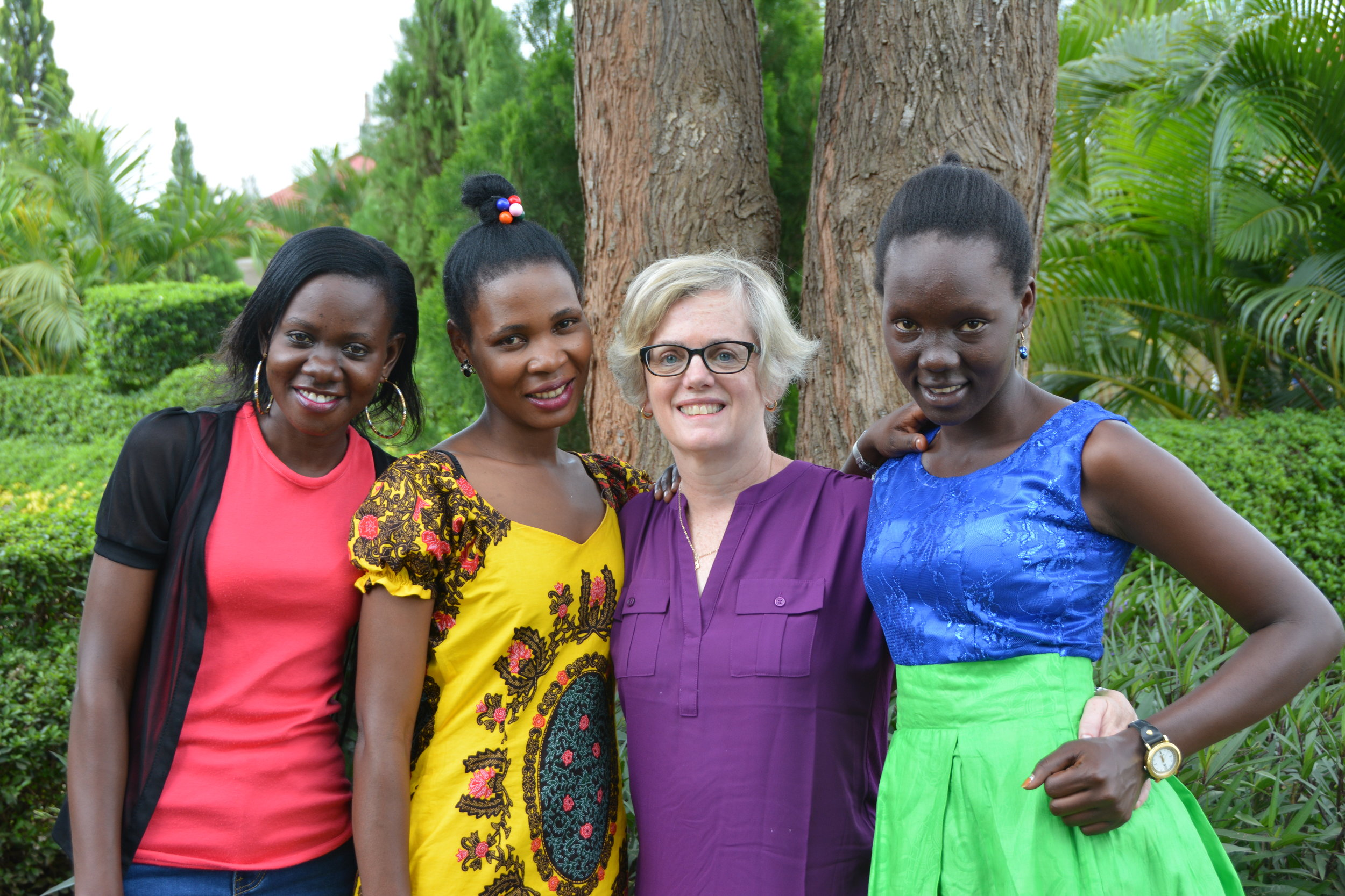 Margy with CROSO Scholars Pamela, Brenda, and Vicky in 2017.