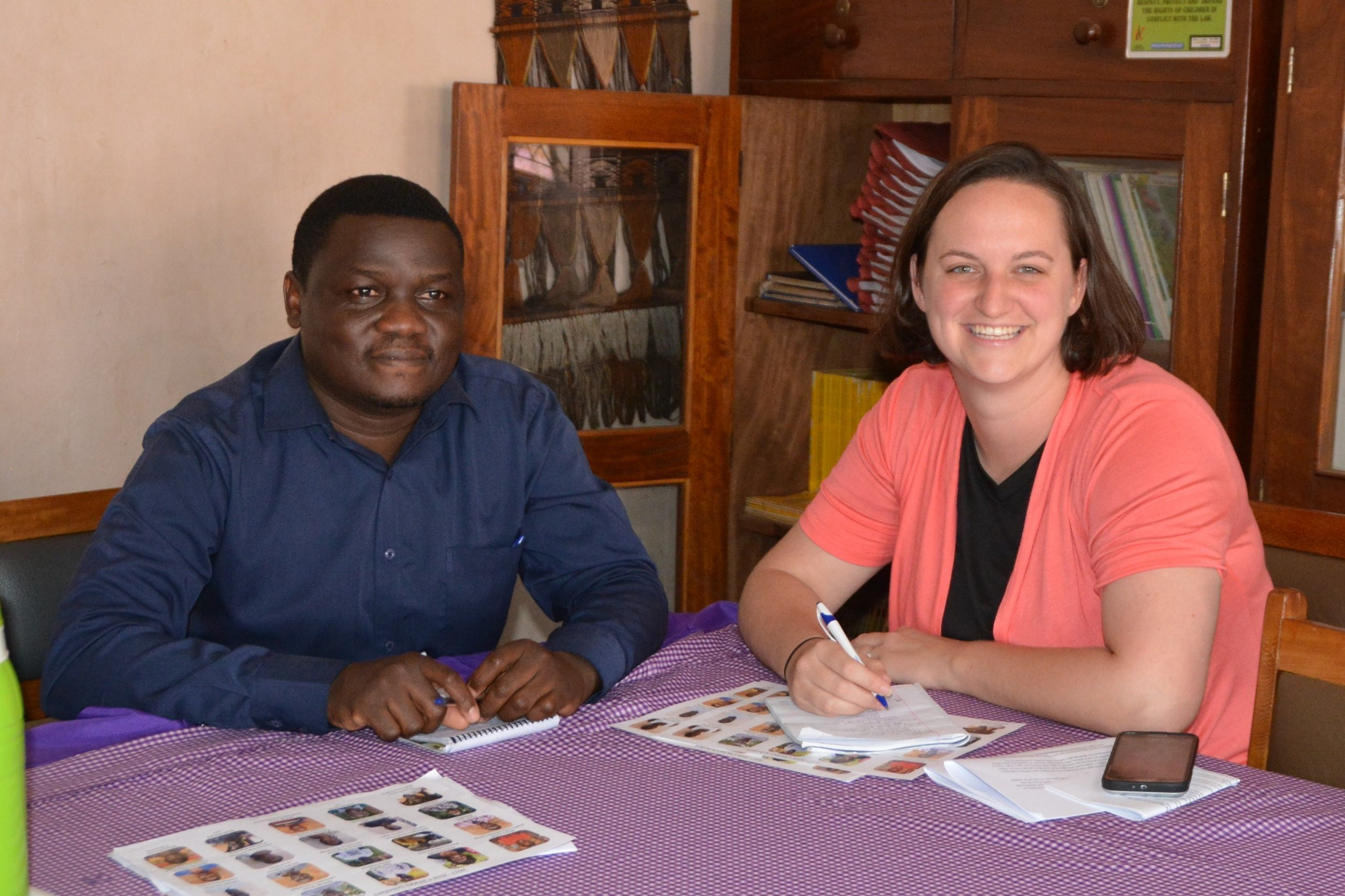 Bwayo Moses (C.R.O. Program Manager in Mbale) and Molly MacCready (CROSO Executive Director) meeting in November 2017.