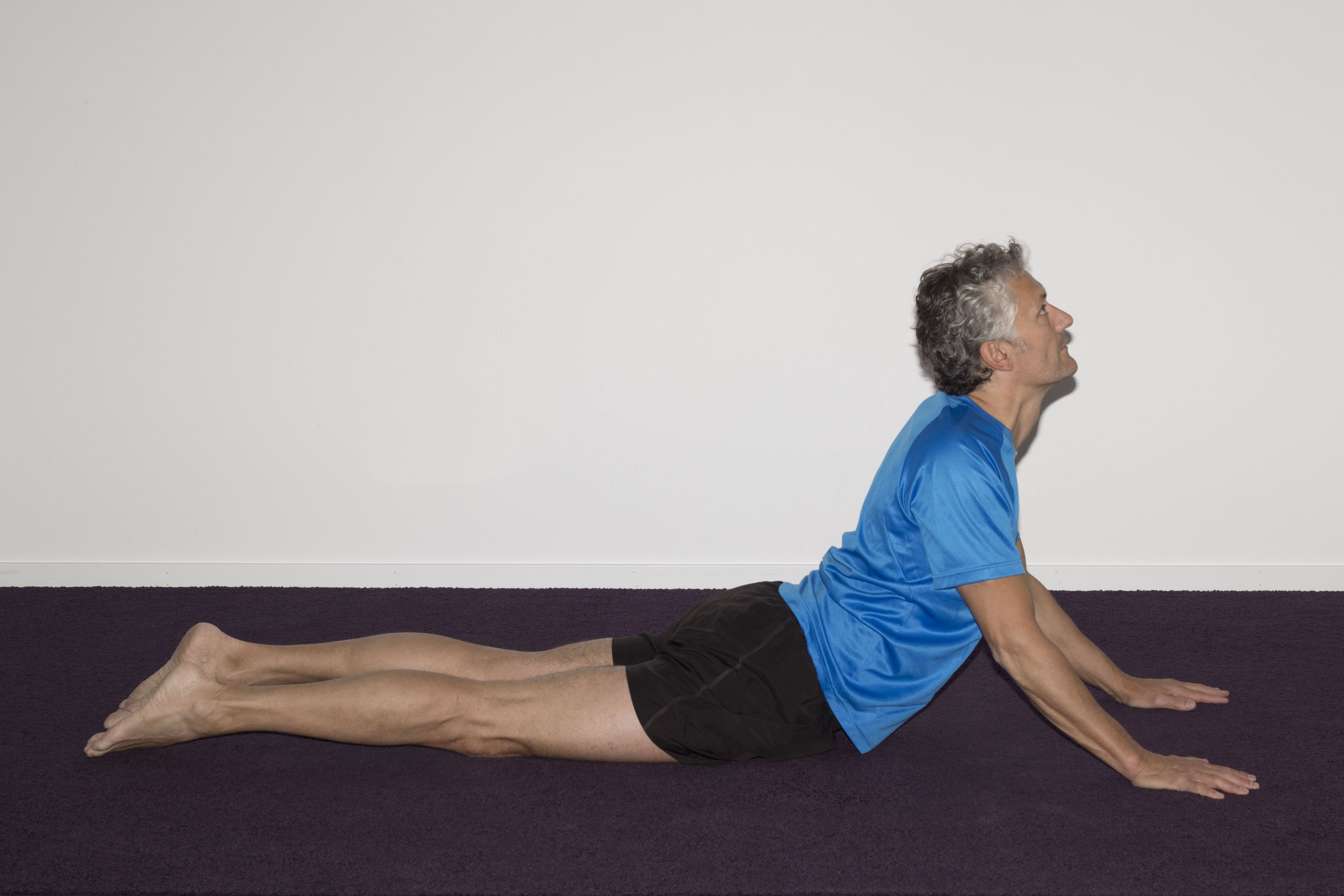 With hips and hands flat on the floor, raise the shoulders off the floor, and look up to the ceiling
