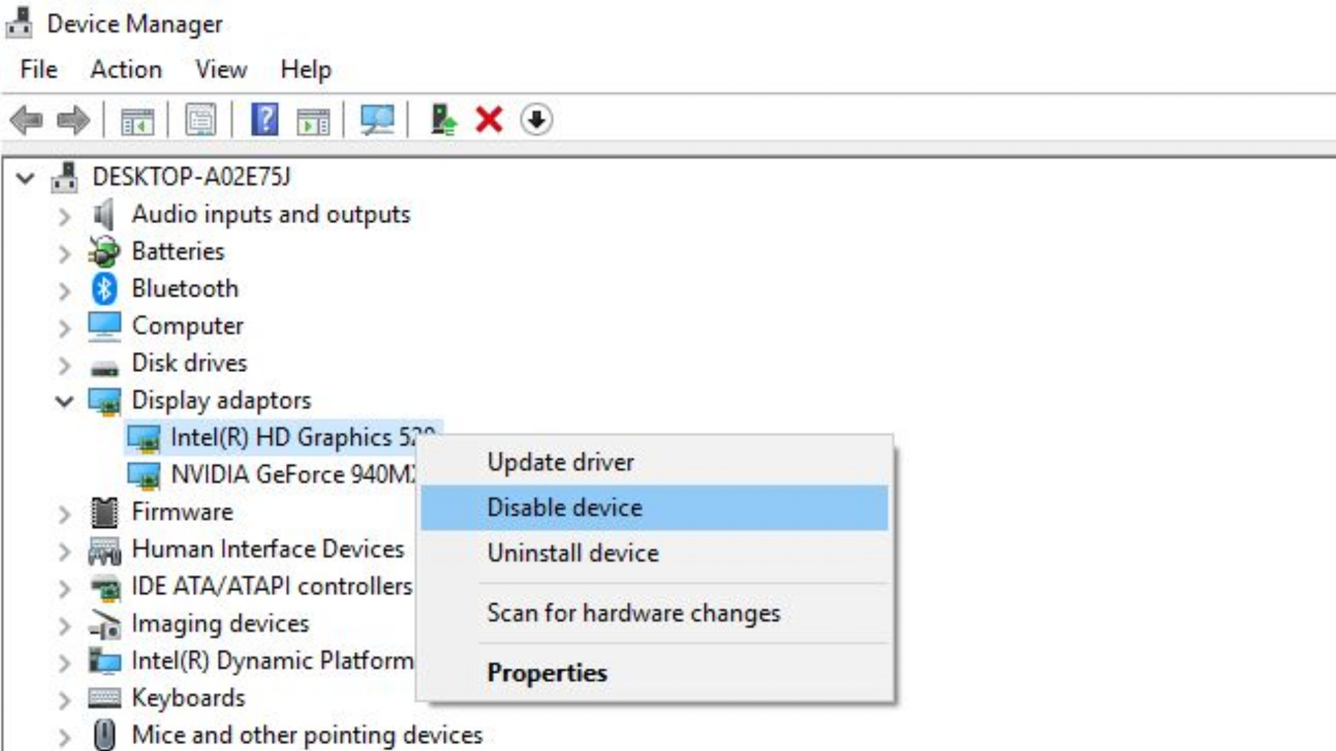 Option to disable the internal graphics adaptor (mostly often an Intel adaptor)