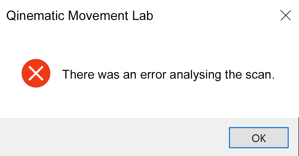 Error message after opening scan in Movement Lab.