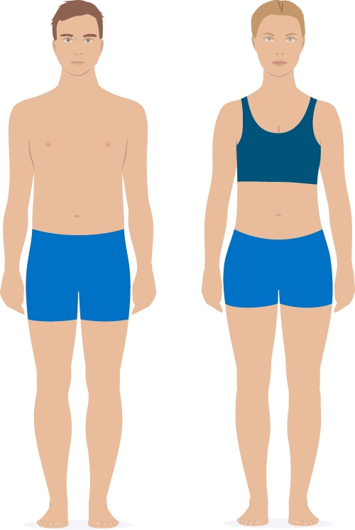 Perfect clothing for men and women. The figure shows a perfect mens and womens clothing for the scan. However, equally perfect are all kind of tights (upper and lower body).