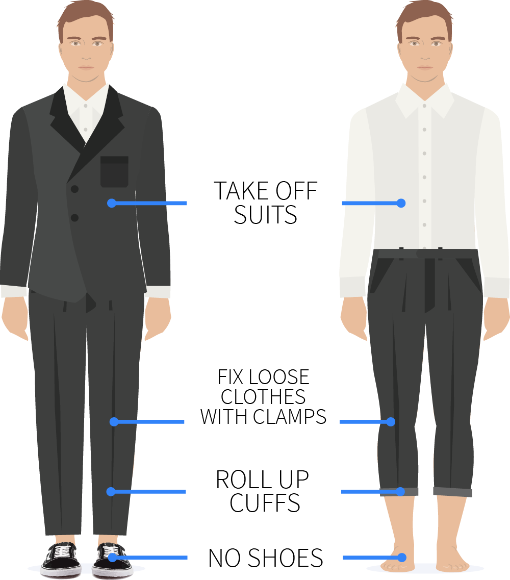 Example of preparation of clothes. All loose clothing should be fixed with clamps on the backside of the body.