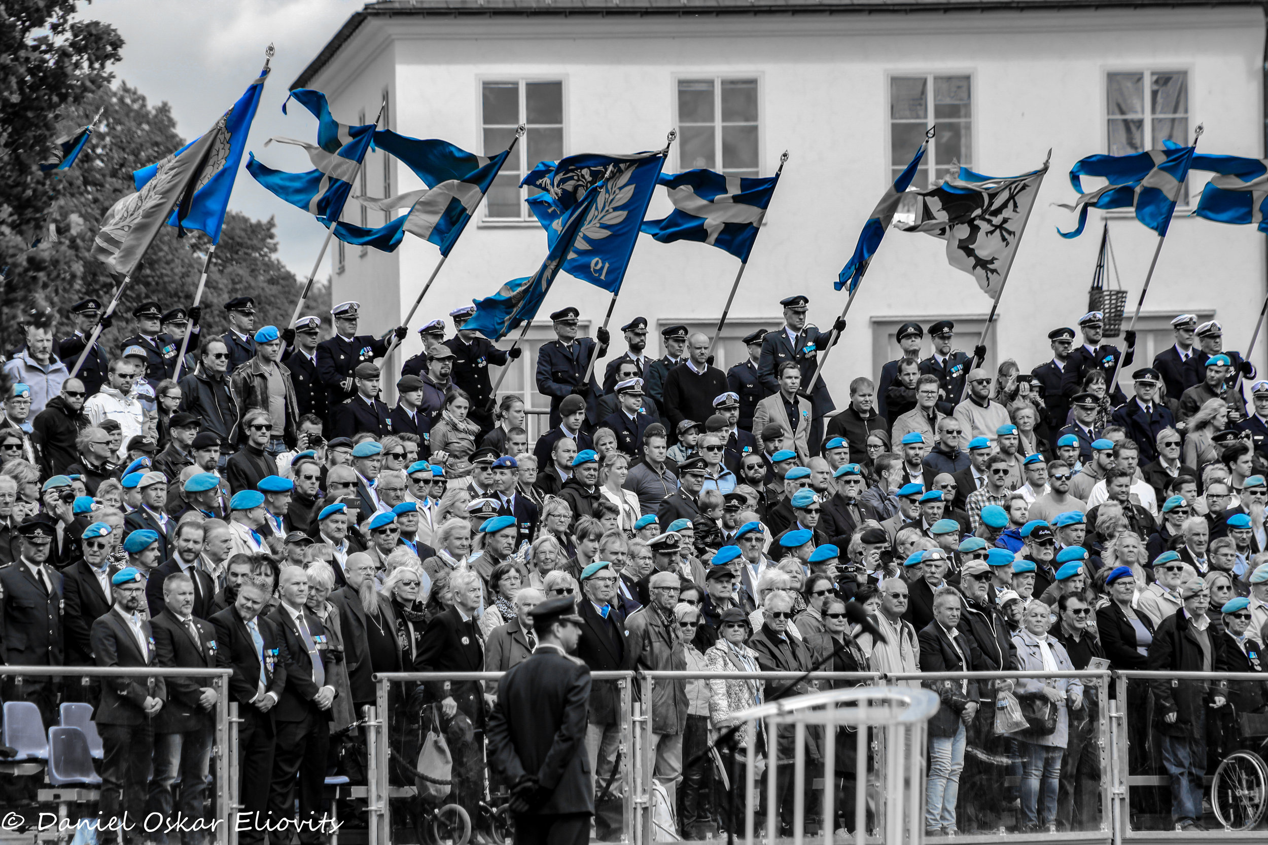 Swedish veterans wearing their blue berets under the Swedish veteran ceremony which takes place in Stockholm once a year.